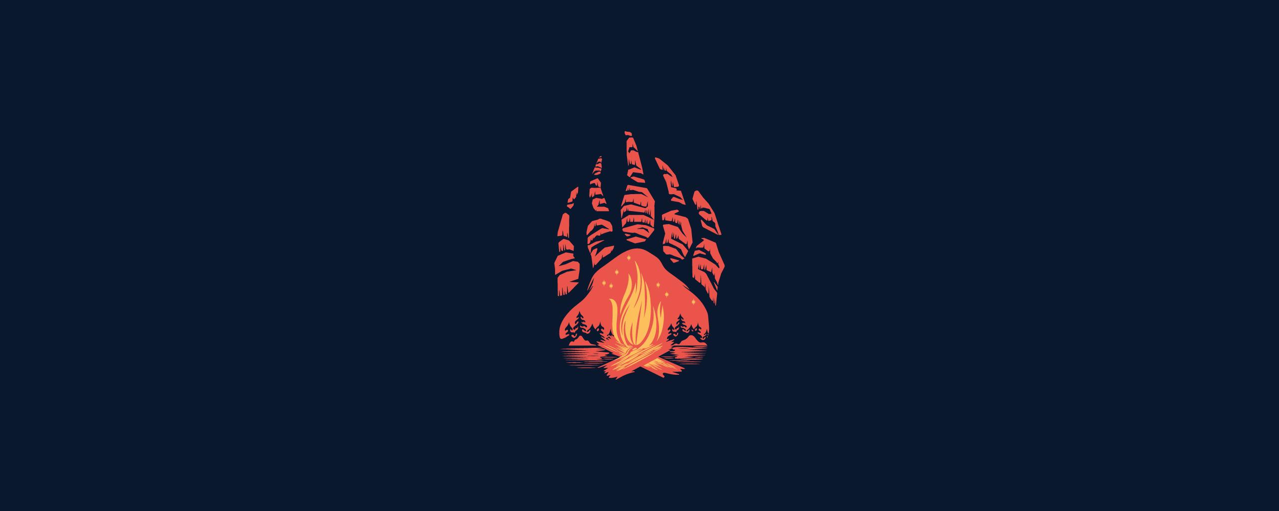 Download 2560x1024 Wallpaper Paws Campfire Minimal