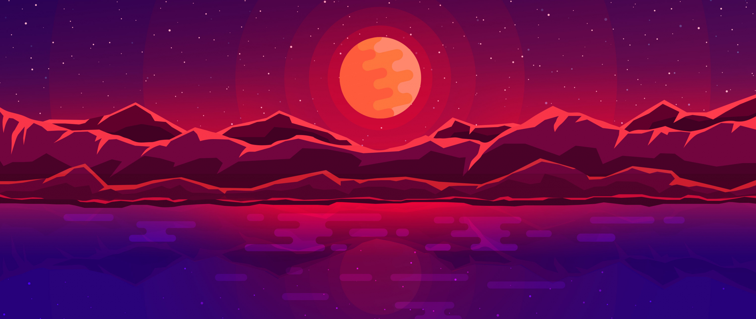 Moon rays, red space, sky, abstract, mountains, 2560x1080 wallpaper
