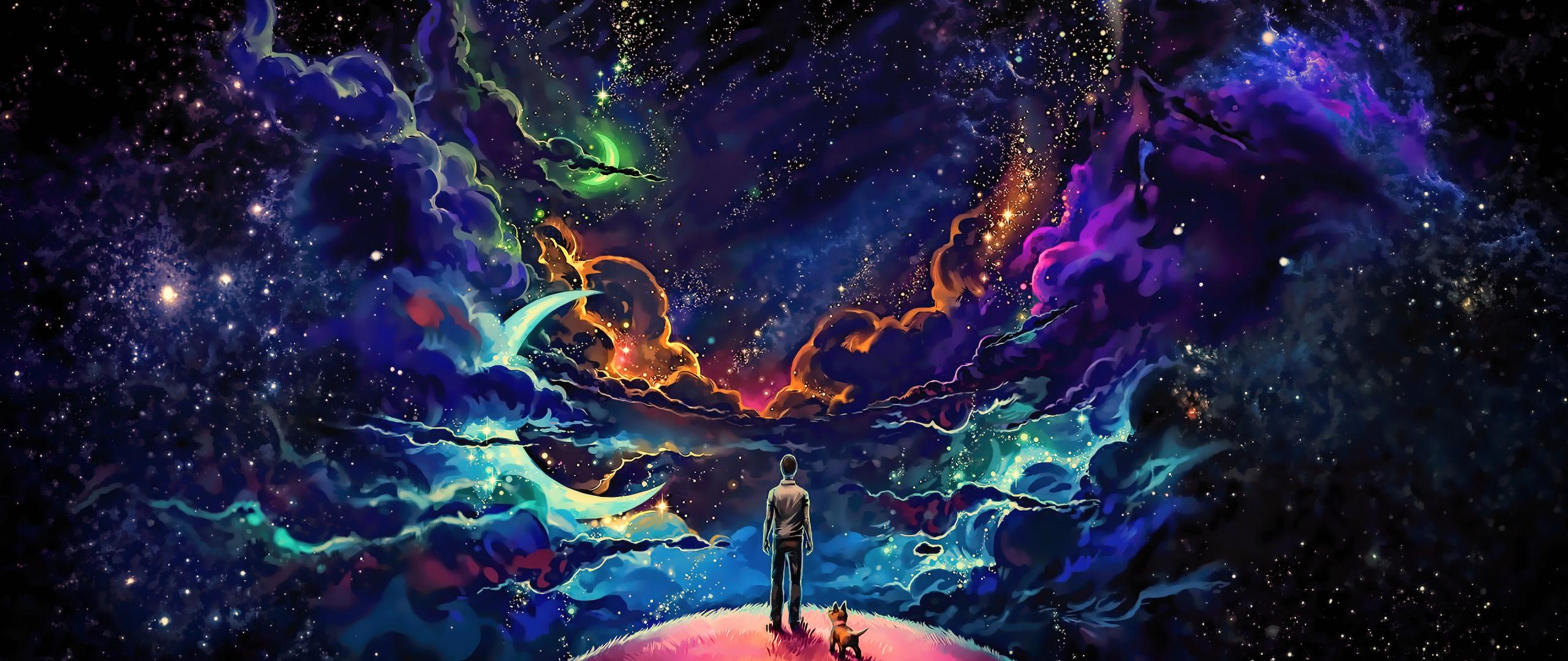 Man and dog, outdoor, clouds, fantasy, art, dark, 2560x1080 wallpaper