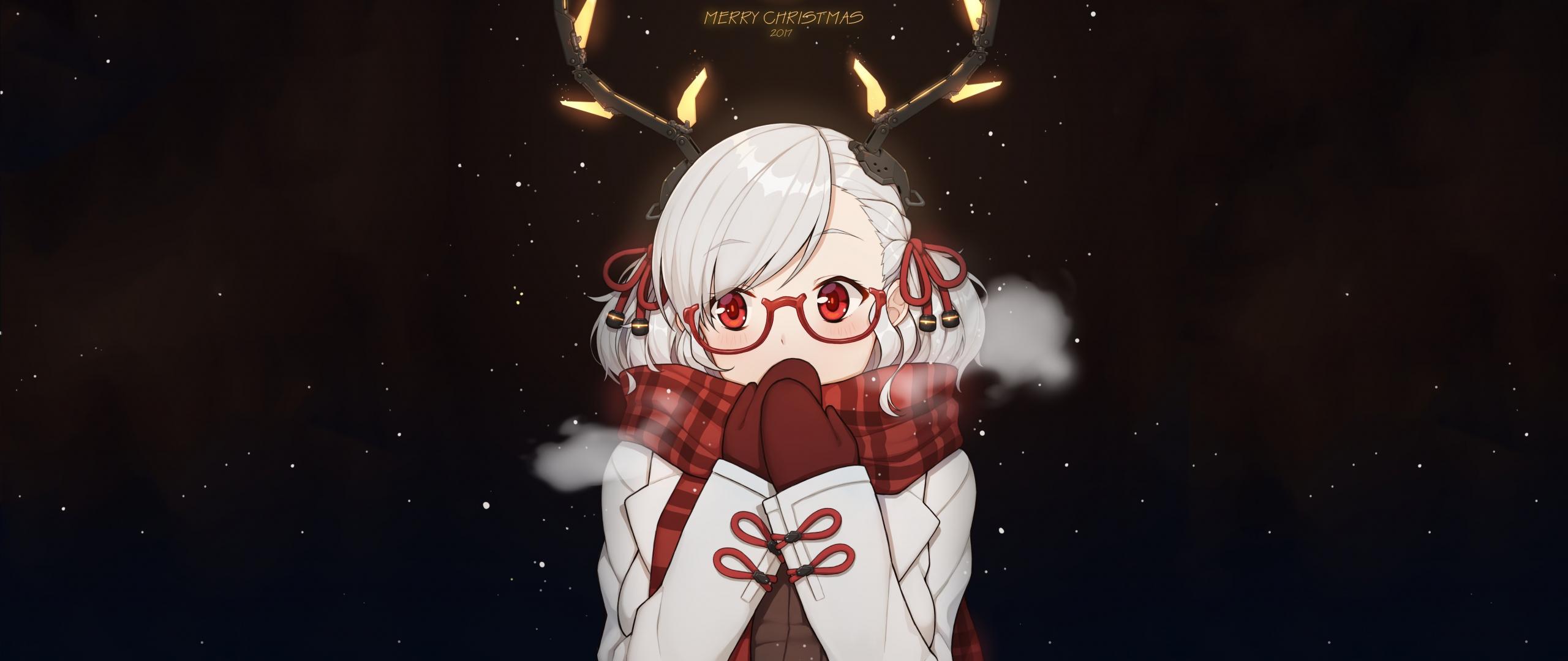 christmas horns girl anime original
