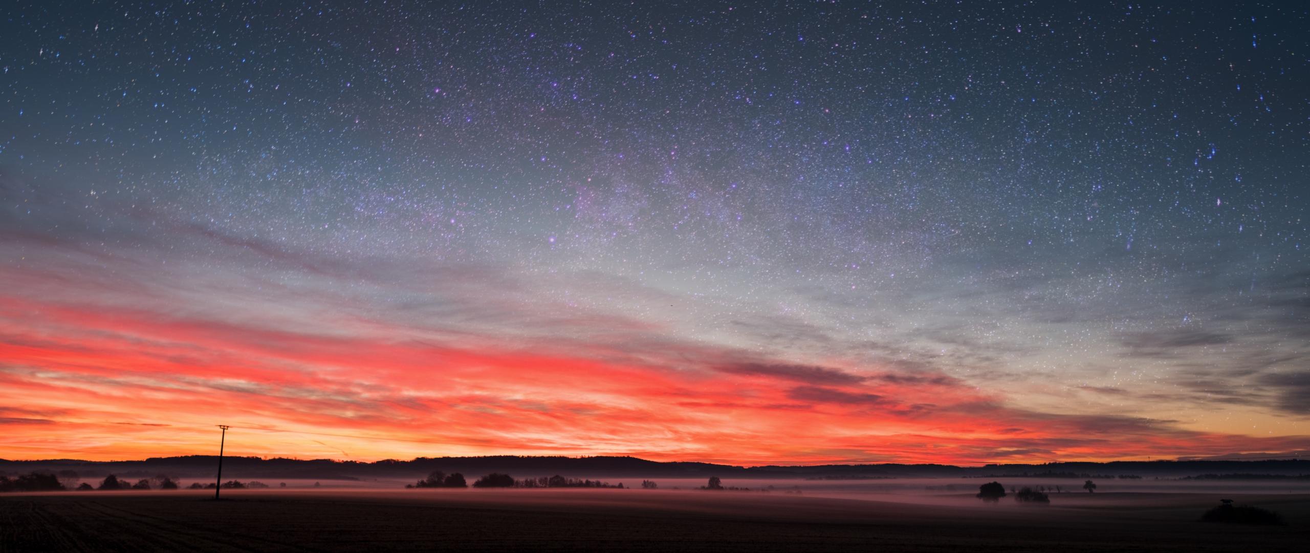 Download 2560x1080 Wallpaper Fog Sunset Silhouette