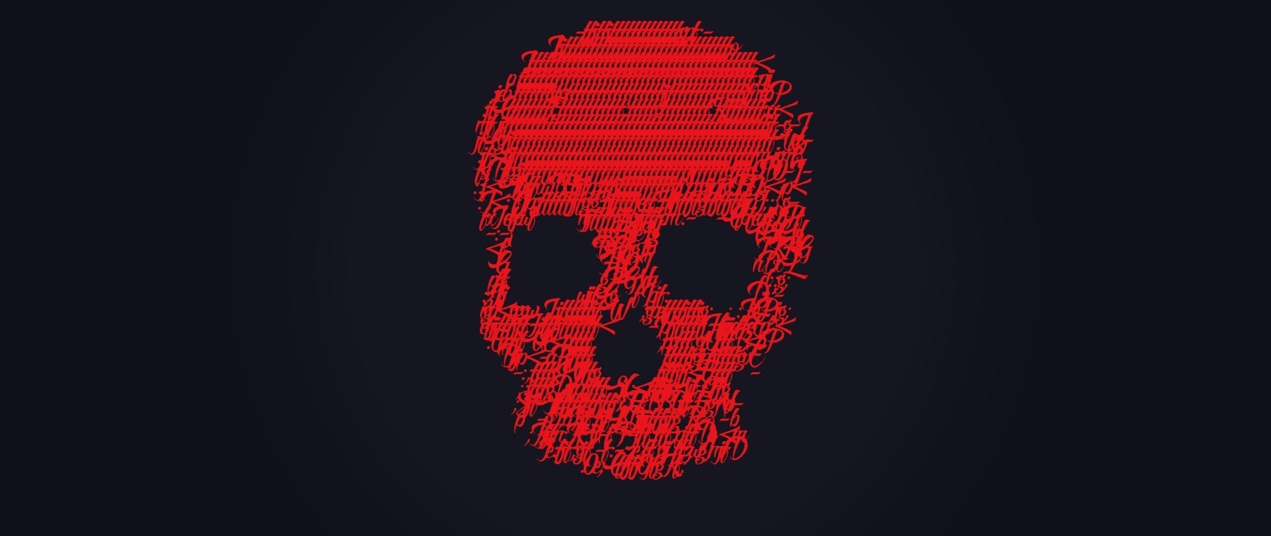 Download 2560x1080 Wallpaper Skull Glitch Art Minimal