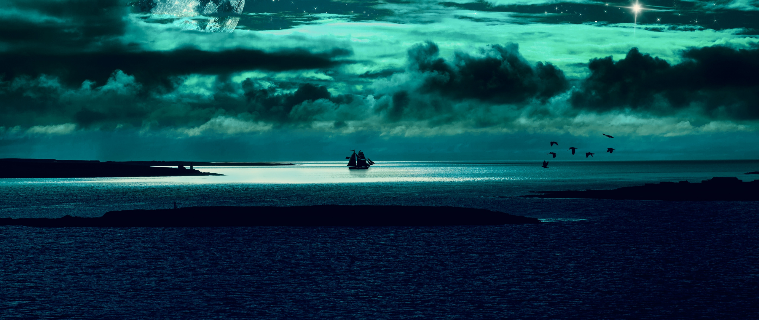 Clouds Body Of Water Sea Night Fantasy 2560x1080 Wallpaper