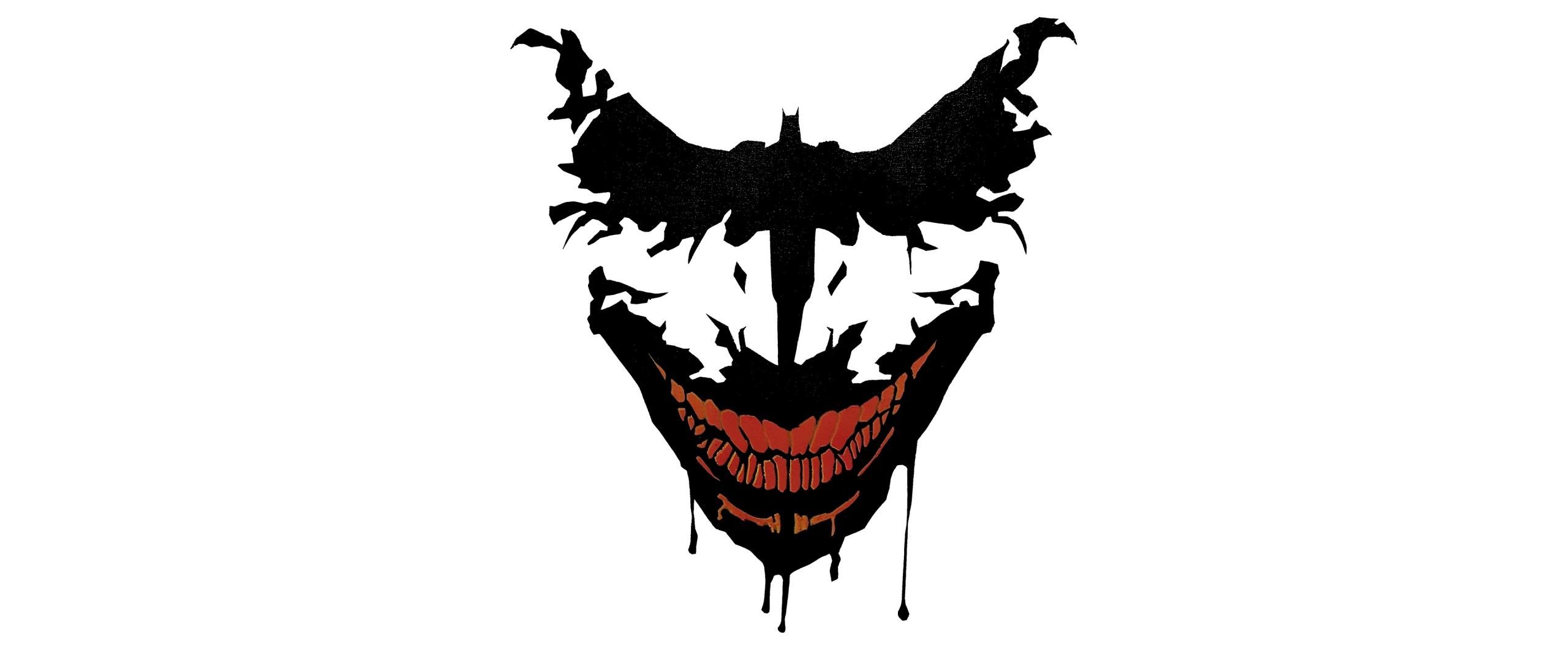 Download 2560x1080 wallpaper joker, smile, minimal, art ...