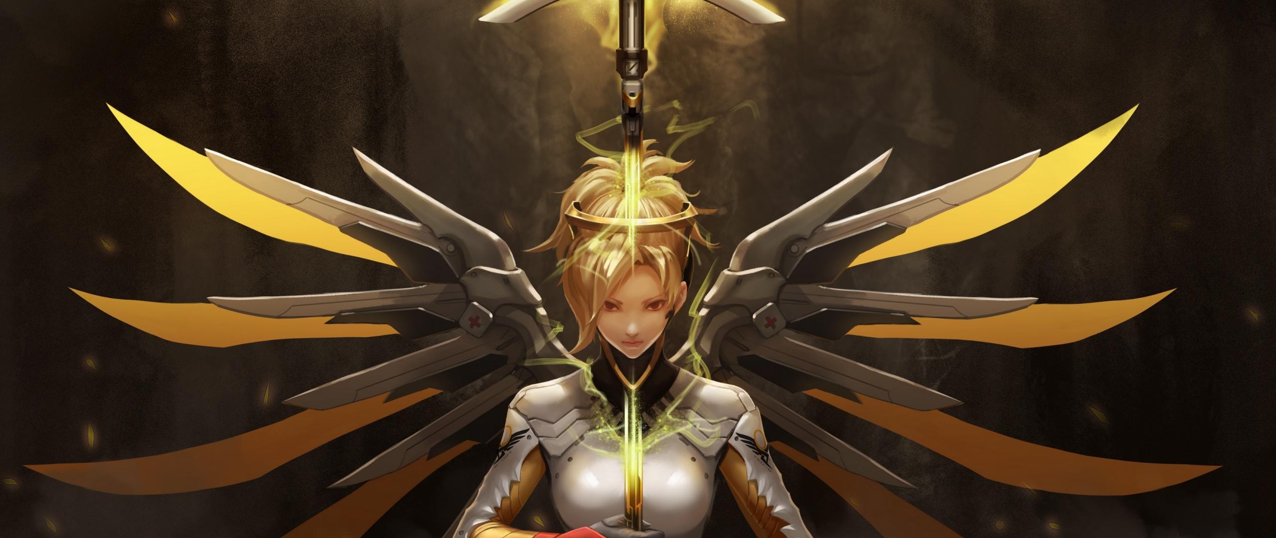 Download 2560x1080 Wallpaper Robotic Wings Mercy Angel