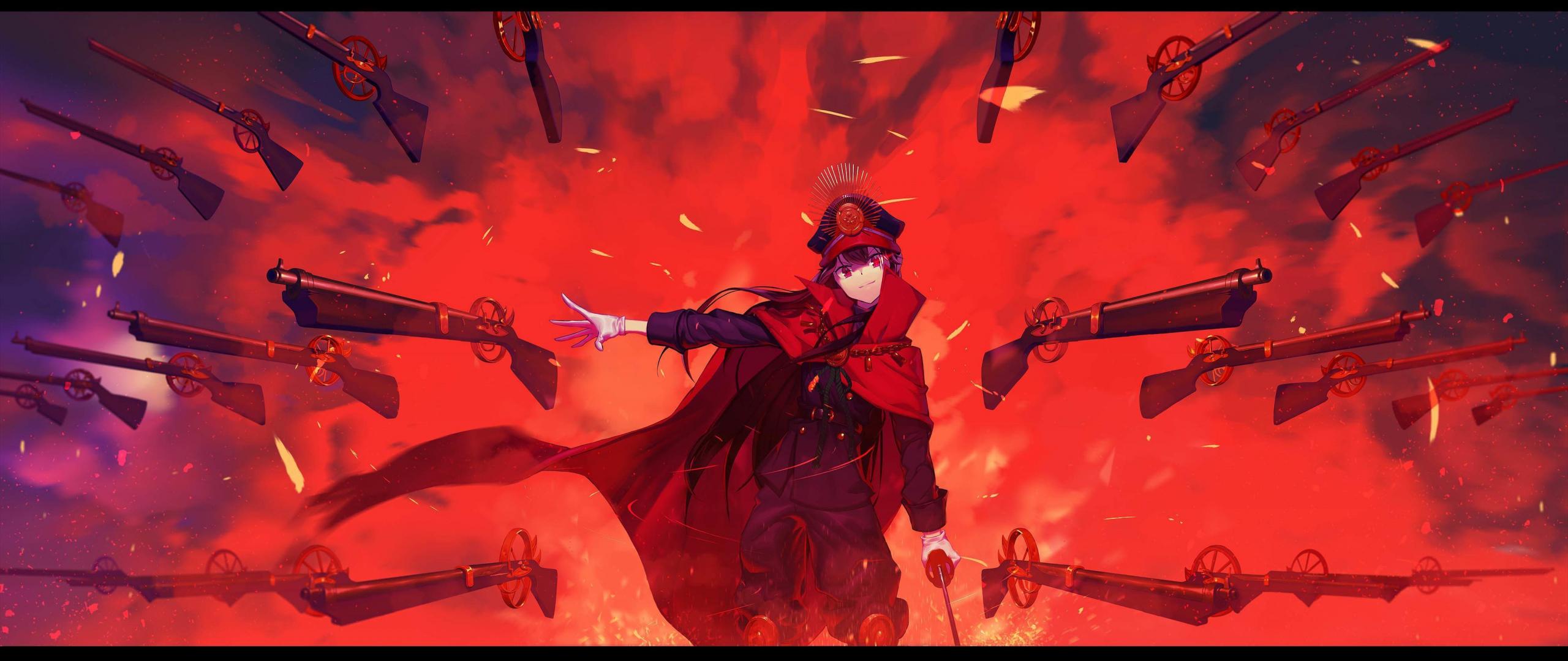 Download 2560x1080 Wallpaper Anime Girl Oda Nobukatsu Fate Grand