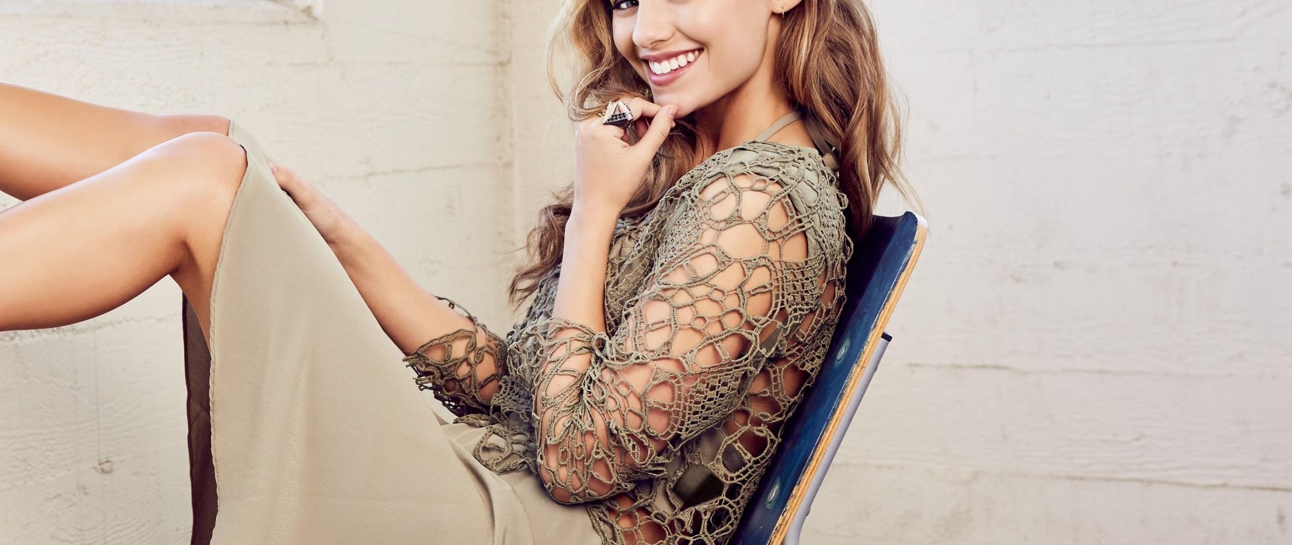 Madison Iseman, actress, smile, 2019, 2560x1080 wallpaper