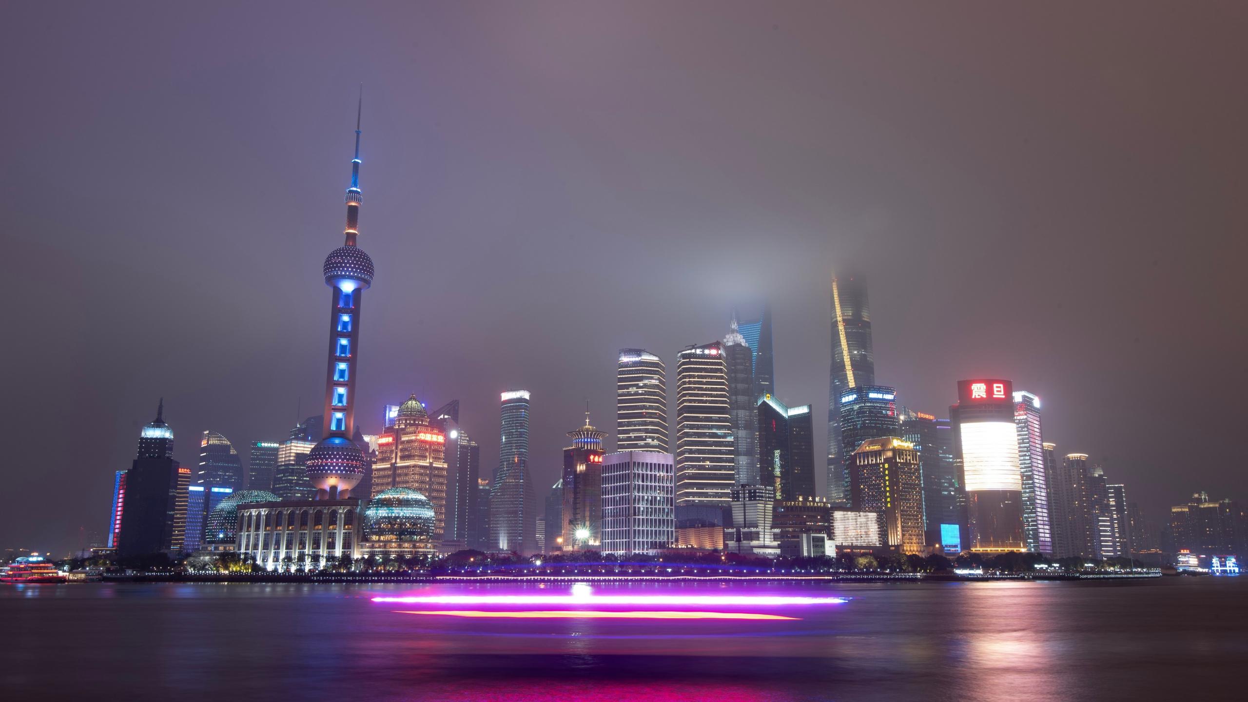 Download 2560x1440 Wallpaper Urban City Shanghai Night Cityscape Dual Wide Widescreen 16 9 Widescreen 2560x1440 Hd Image Background 19739