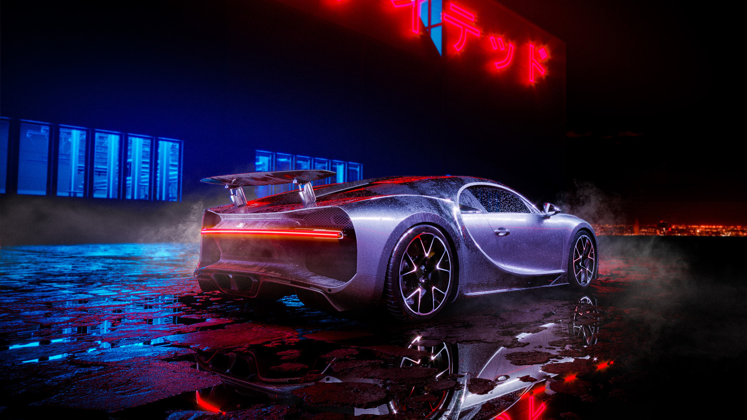 Download 2560x1440 Wallpaper Bugatti Chiron Neon Lights Luxury Car Dual Wide Widescreen 16 9 Widescreen 2560x1440 Hd Image Background 15035