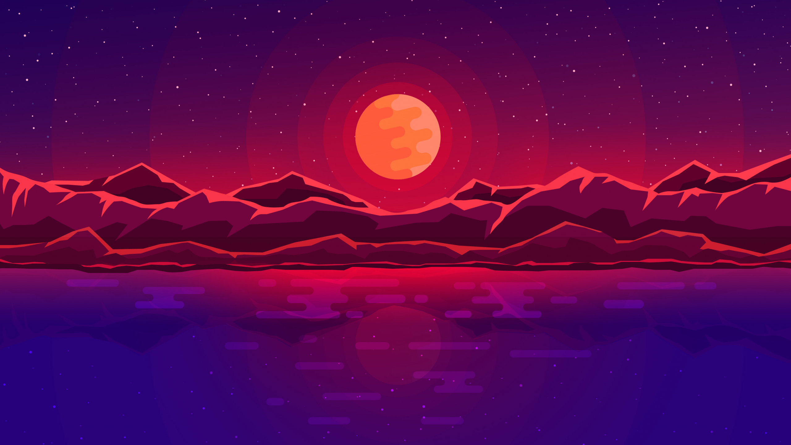 Download 2560x1440 Wallpaper Moon Rays Red Space Sky