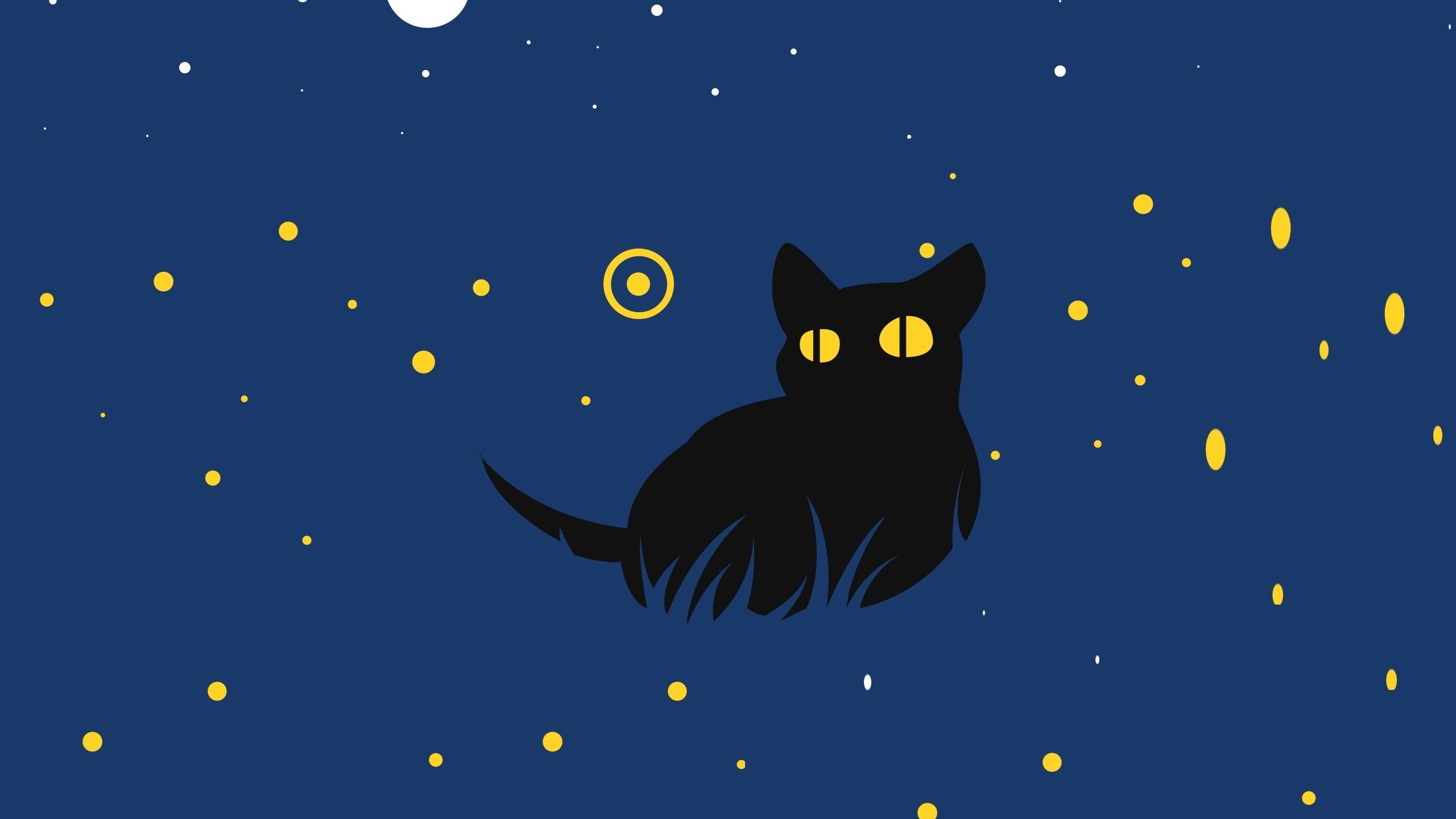 Download 2560x1440 Wallpaper Cute Black Cat Minimal Art Dual Wide Widescreen 16 9 Widescreen 2560x1440 Hd Image Background 15825