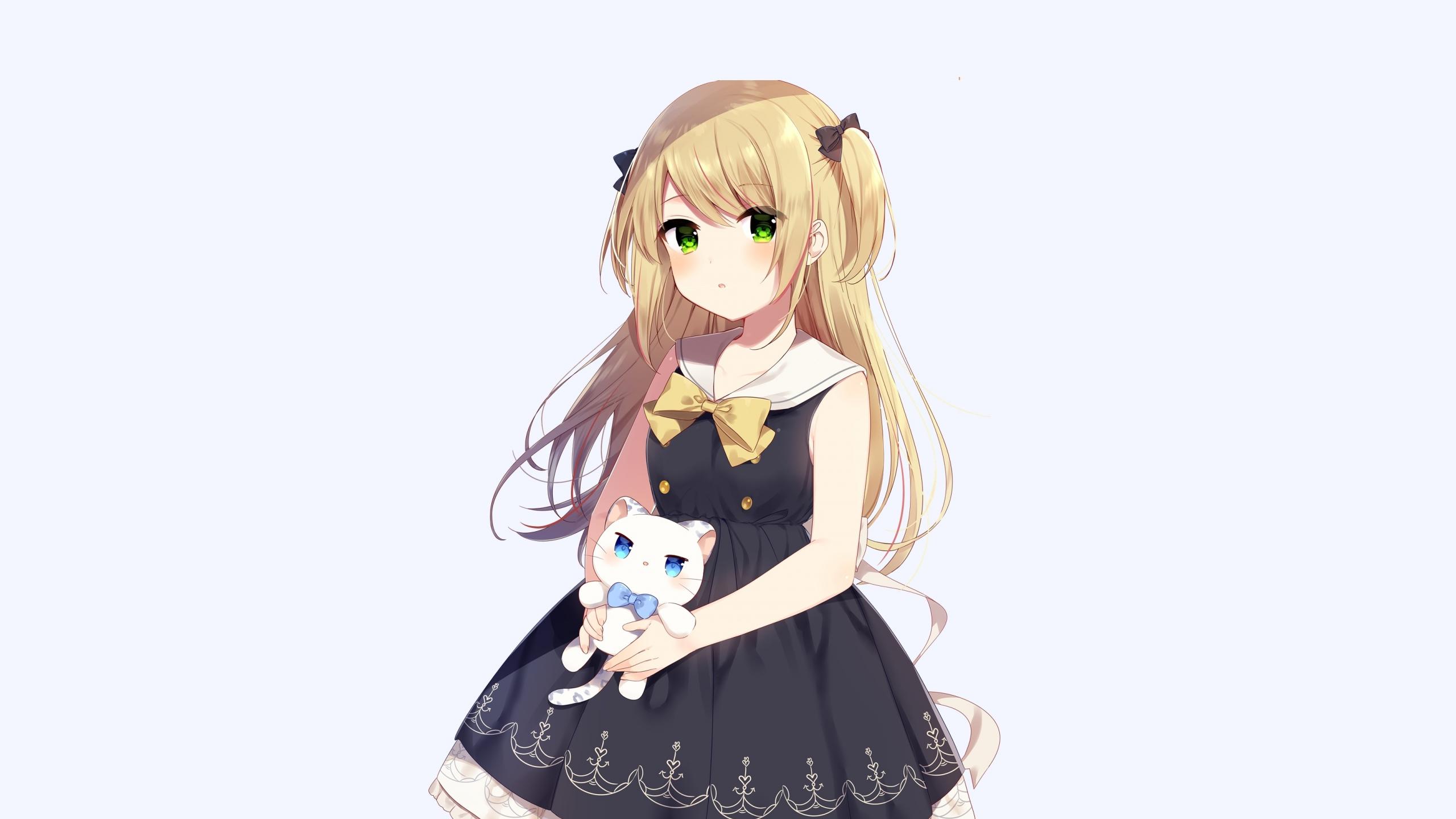 Cute anime girl and her kitten original 2560x1440 wallpaper