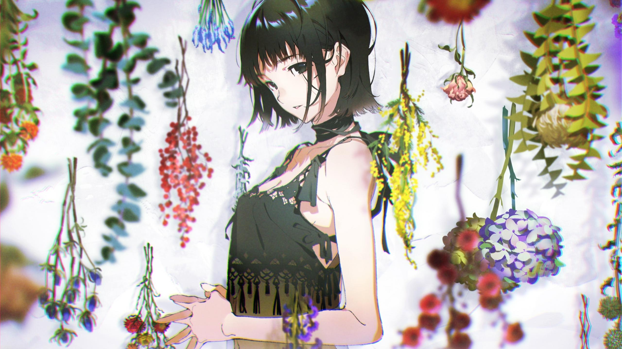 Download 2560x1440 Wallpaper Dark Hair Hot Anime Girl Original Dual Wide Widescreen 16 9 Widescreen 2560x1440 Hd Image Background 8245