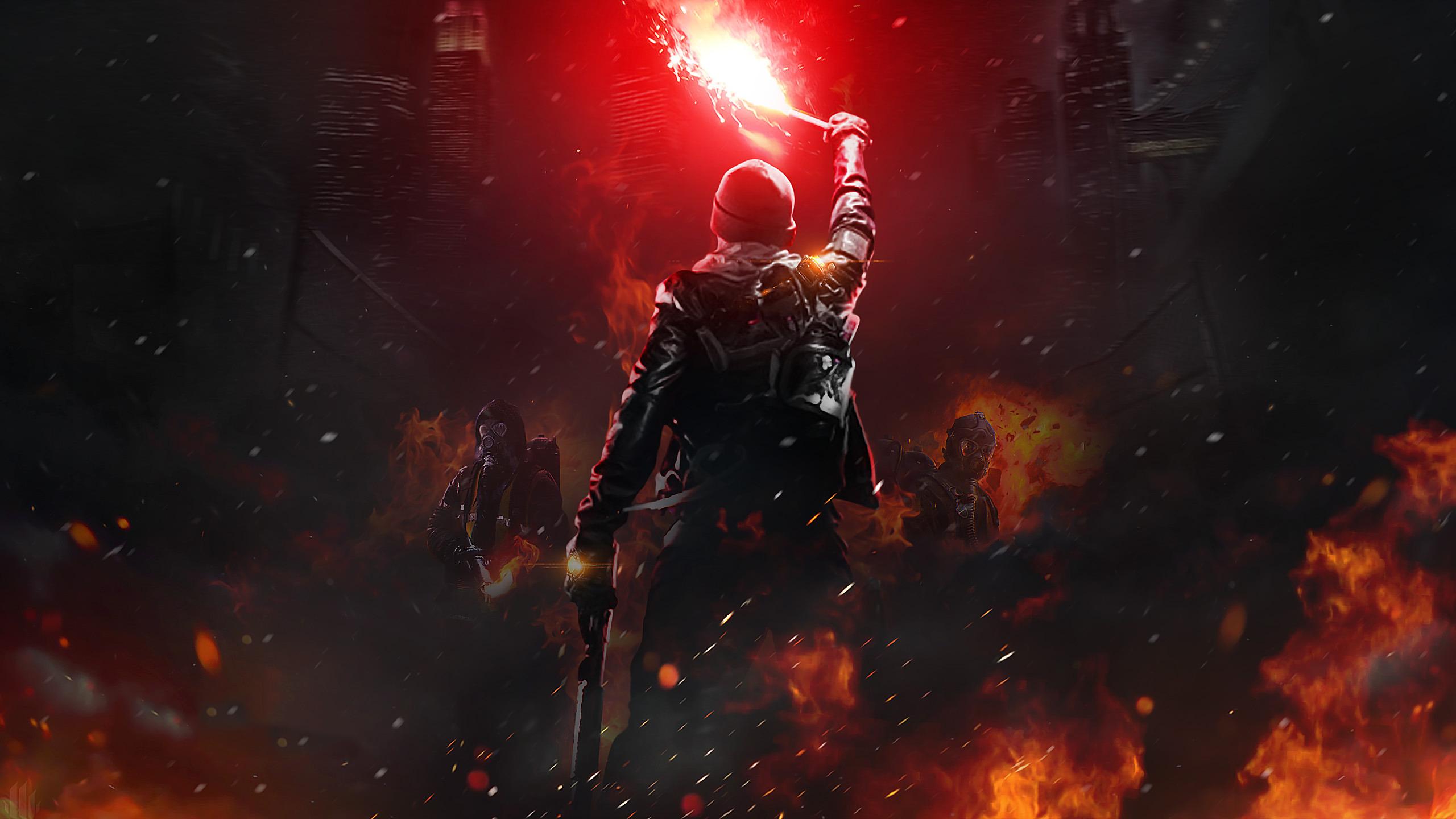 Download 2560x1440 Wallpaper Masked Soldiers Dark Fire