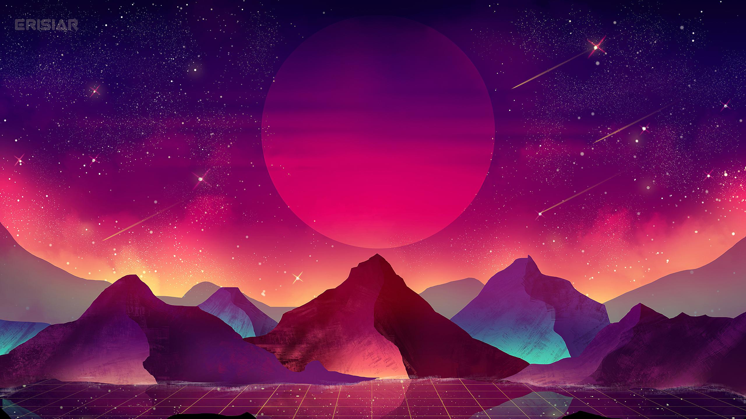 Download 2560x1440 Wallpaper Terrain Vaporwave Moon Mountains Landscape Art Dual Wide Widescreen 16 9 Widescreen 2560x1440 Hd Image Background 23290