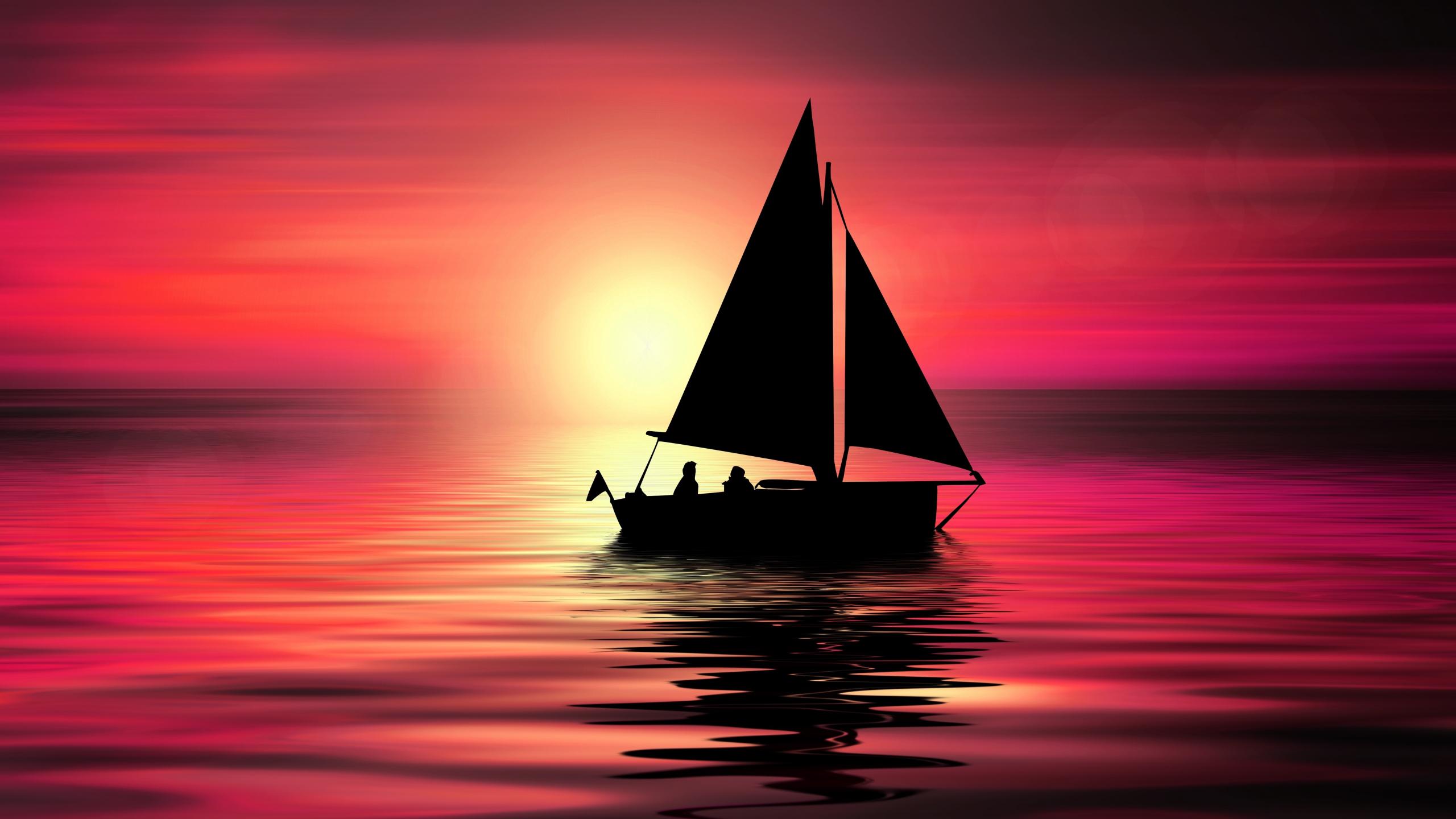 Artwork, sailboat, sunset, silhouette, 2560x1440 wallpaper