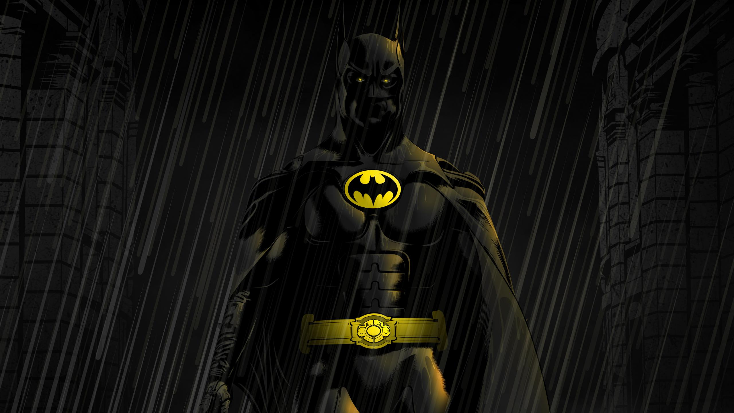 Download 2560x1440 wallpaper batman, dark, rain, artwork ...