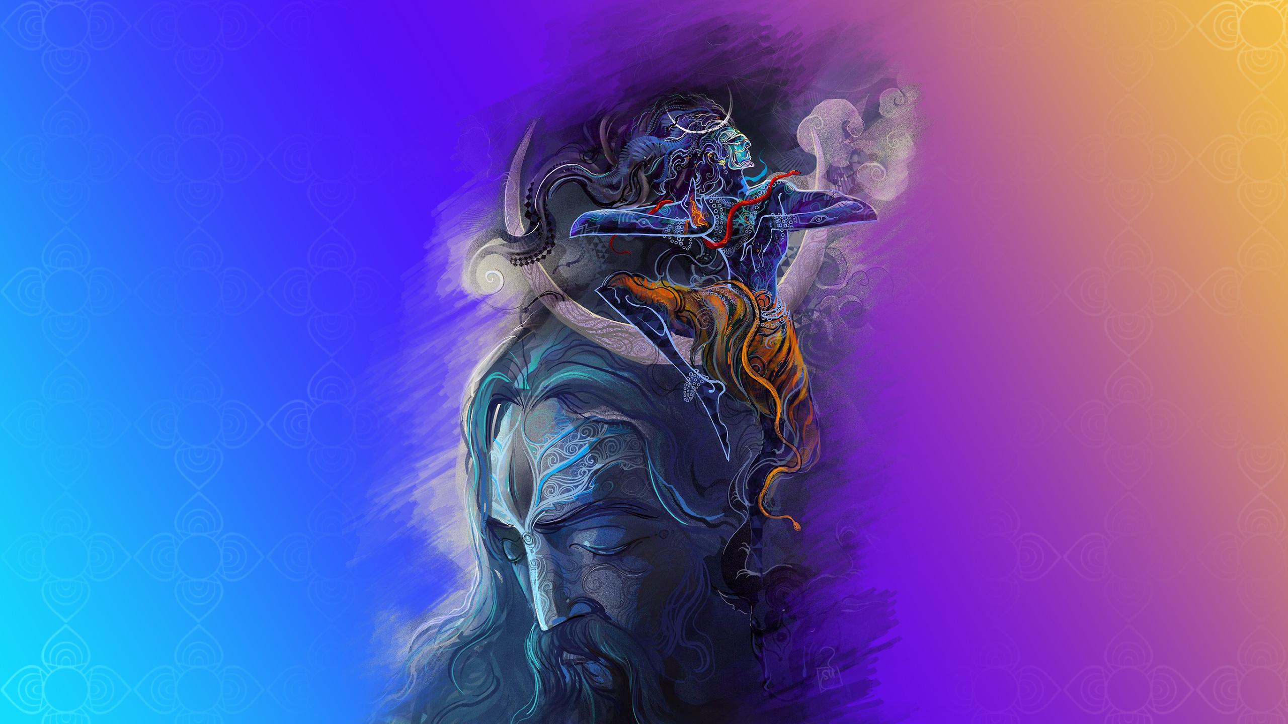 Download 2560x1440 Wallpaper Lord Shiva God Digital Art