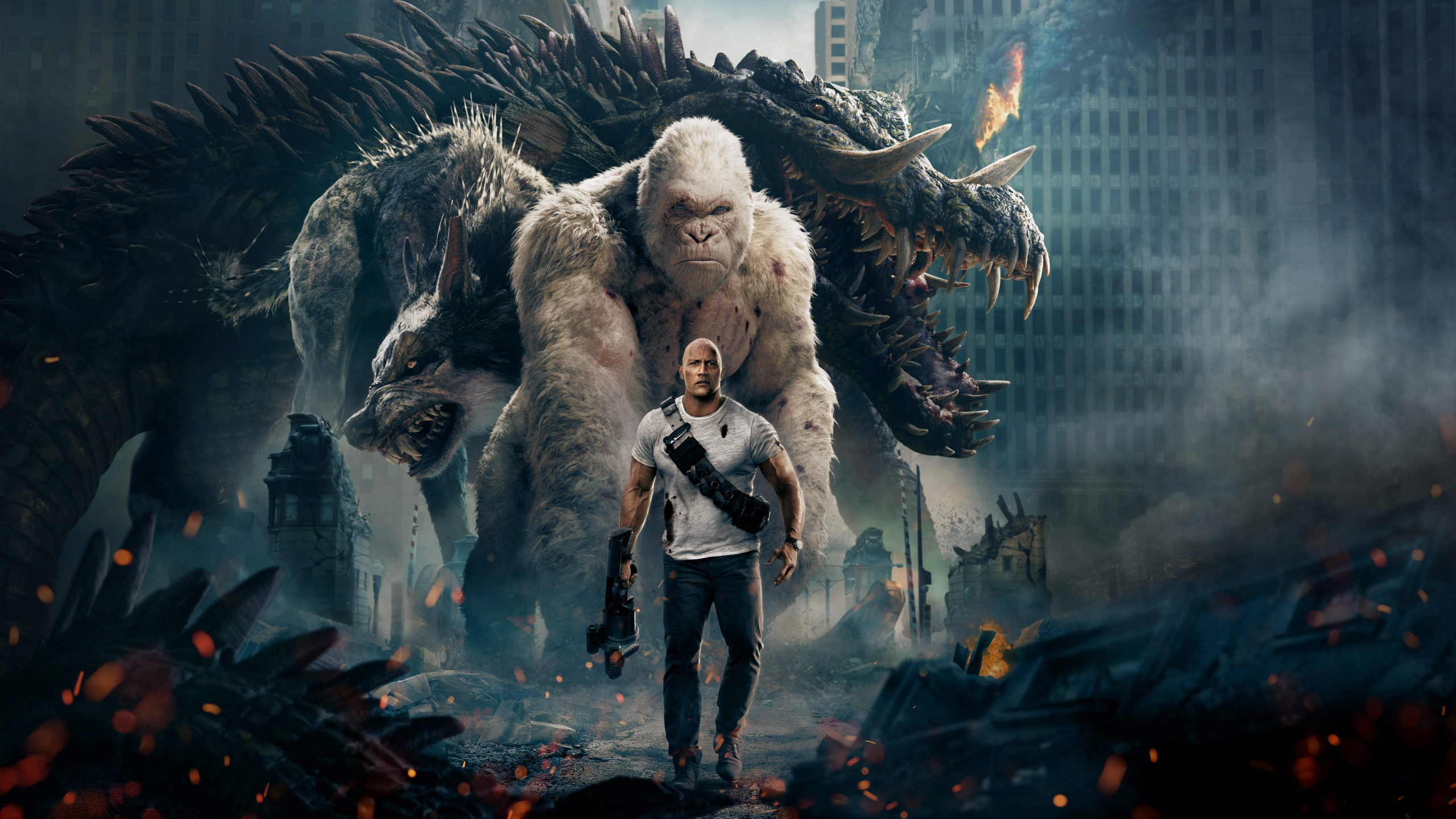 Download 2560x1440 Wallpaper Movie Rampage 2018 Official Poster Dual Wide Widescreen 16 9 Widescreen 2560x1440 Hd Image Background 5701