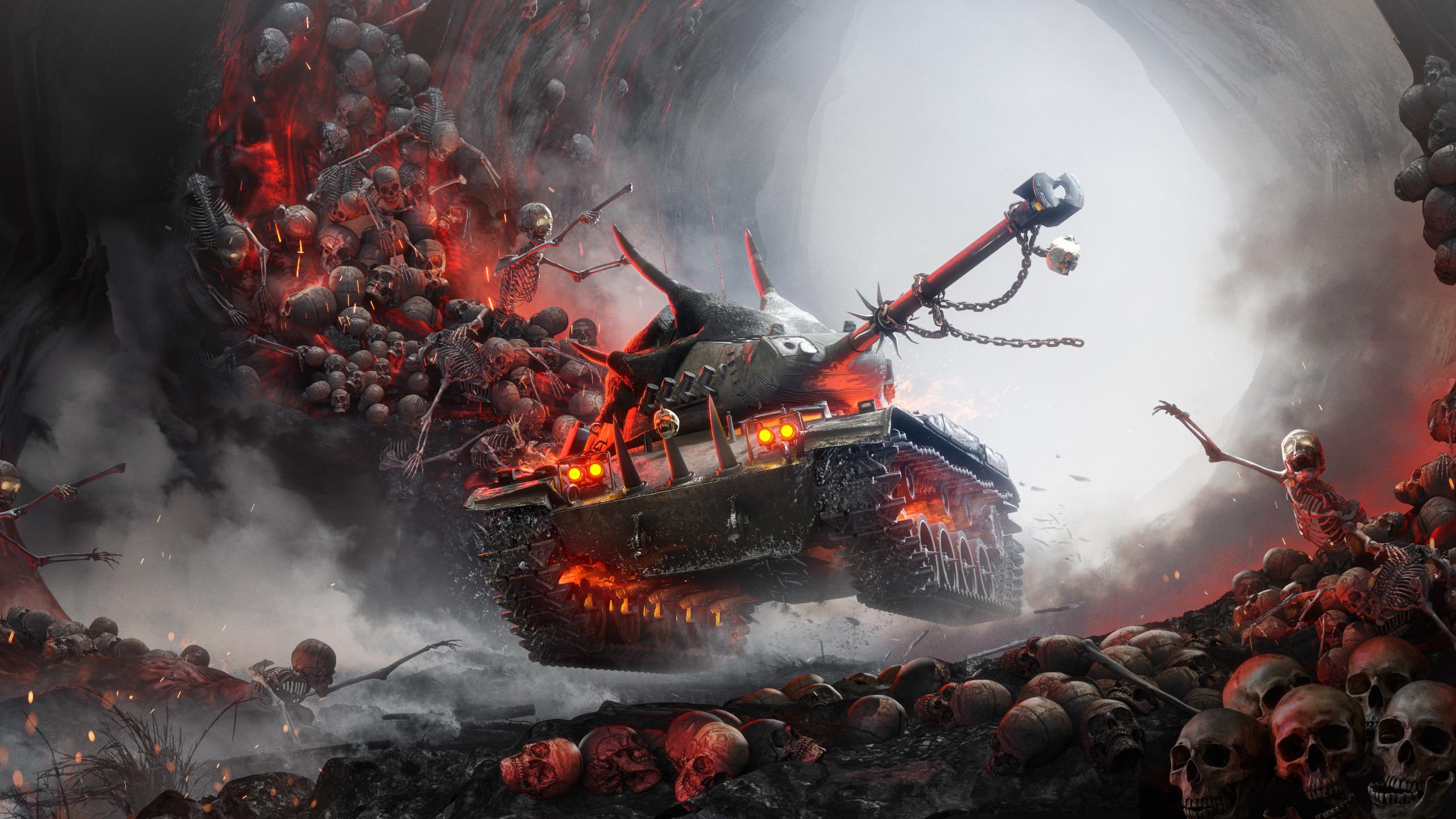 Download 2560x1440 Wallpaper World Of Tanks Online Game Skulls Dual Wide Widescreen 16 9 Widescreen 2560x1440 Hd Image Background 14914