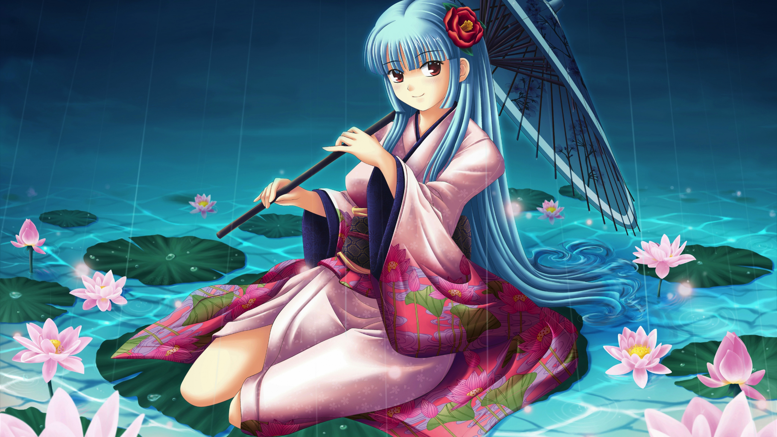 Download 2560x1440 wallpaper pond lake flowers anime - Anime girl picture download ...