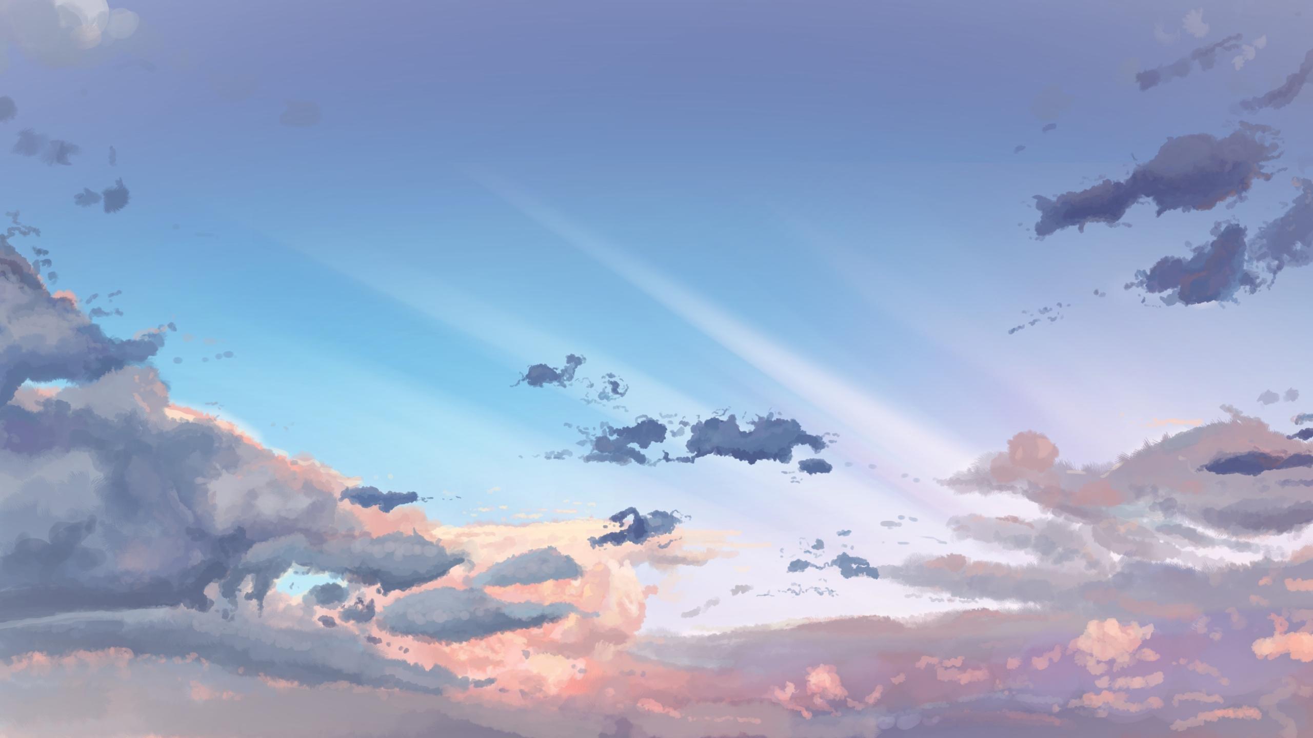 Download 2560x1440 Wallpaper Sky Clouds Original Anime Dual