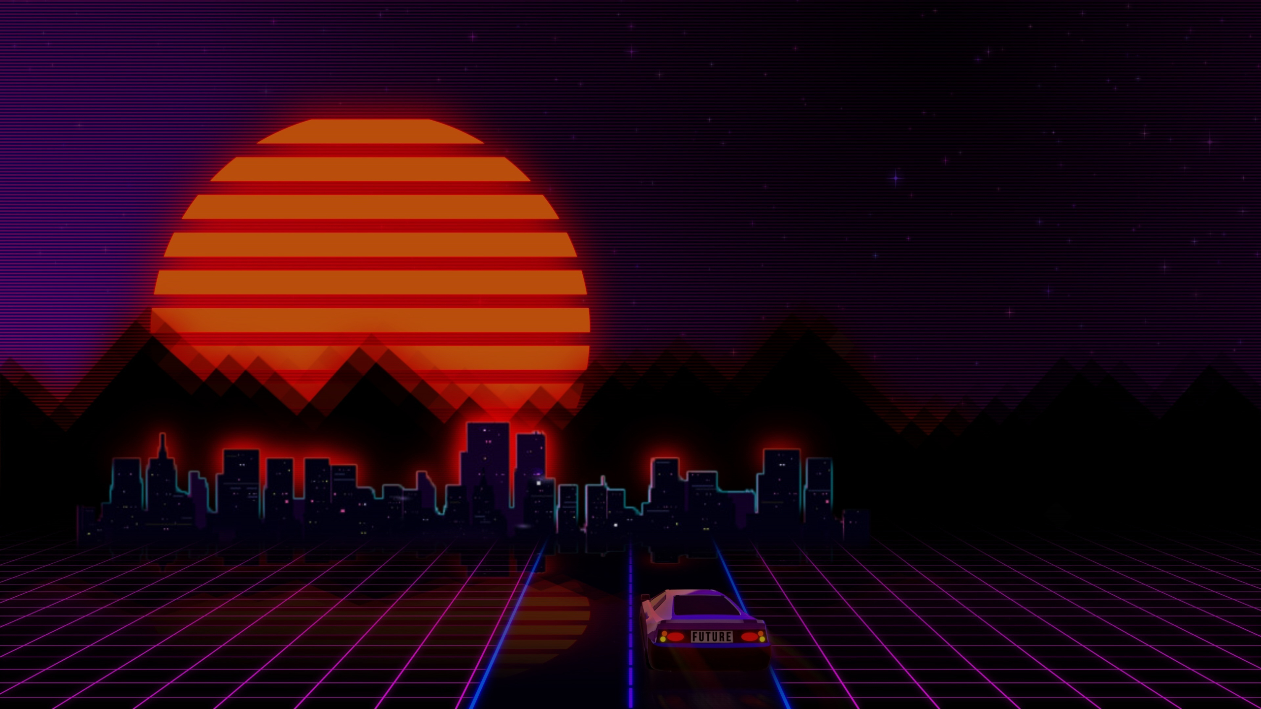 Download 2560x1440 Wallpaper Retro City Car Abstract Dual Wide Widescreen 16 9 Widescreen 2560x1440 Hd Image Background 7707