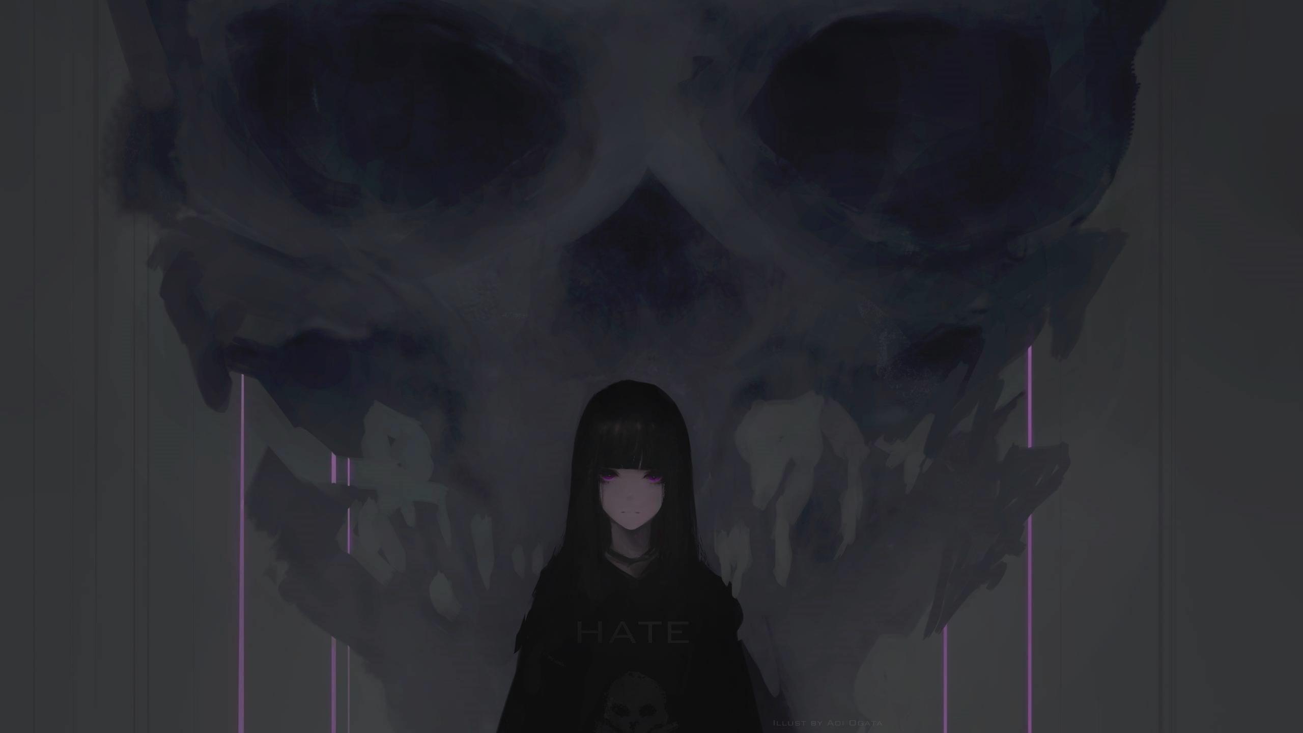 Download 2560x1440 Wallpaper Anime Girl Purple Eyes Dark Skull Dual Wide Widescreen 16 9 Widescreen 2560x1440 Hd Image Background 2429