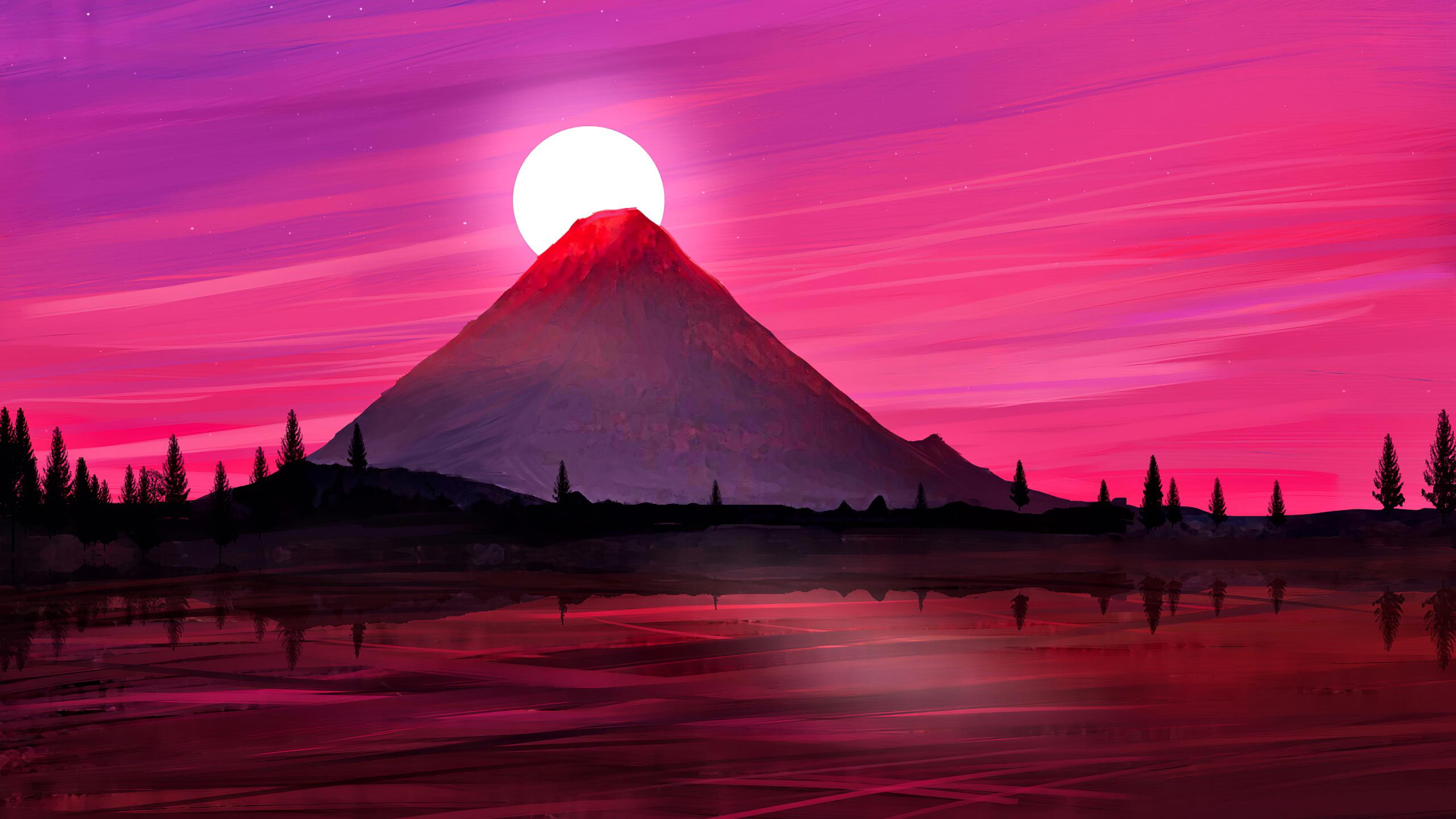 Download 2560x1440 Wallpaper Japan Mountain Silhouette Minimal Art Dual Wide Widescreen 16 9 Widescreen 2560x1440 Hd Image Background 24045