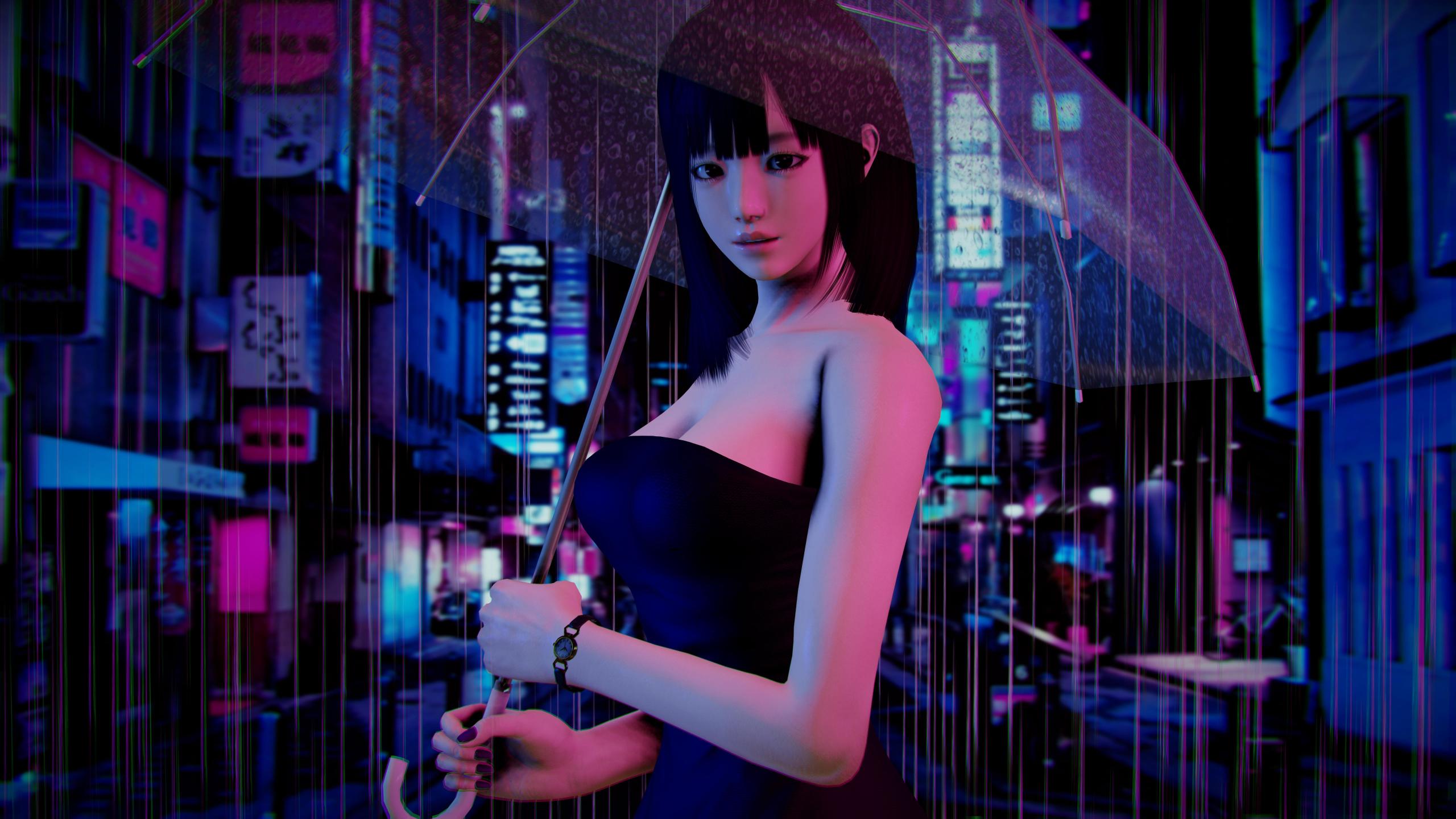Download 2560x1440 Wallpaper Honey Select Studio Video Game Rain Umbrella Dual Wide Widescreen 16 9 Widescreen 2560x1440 Hd Image Background 2746