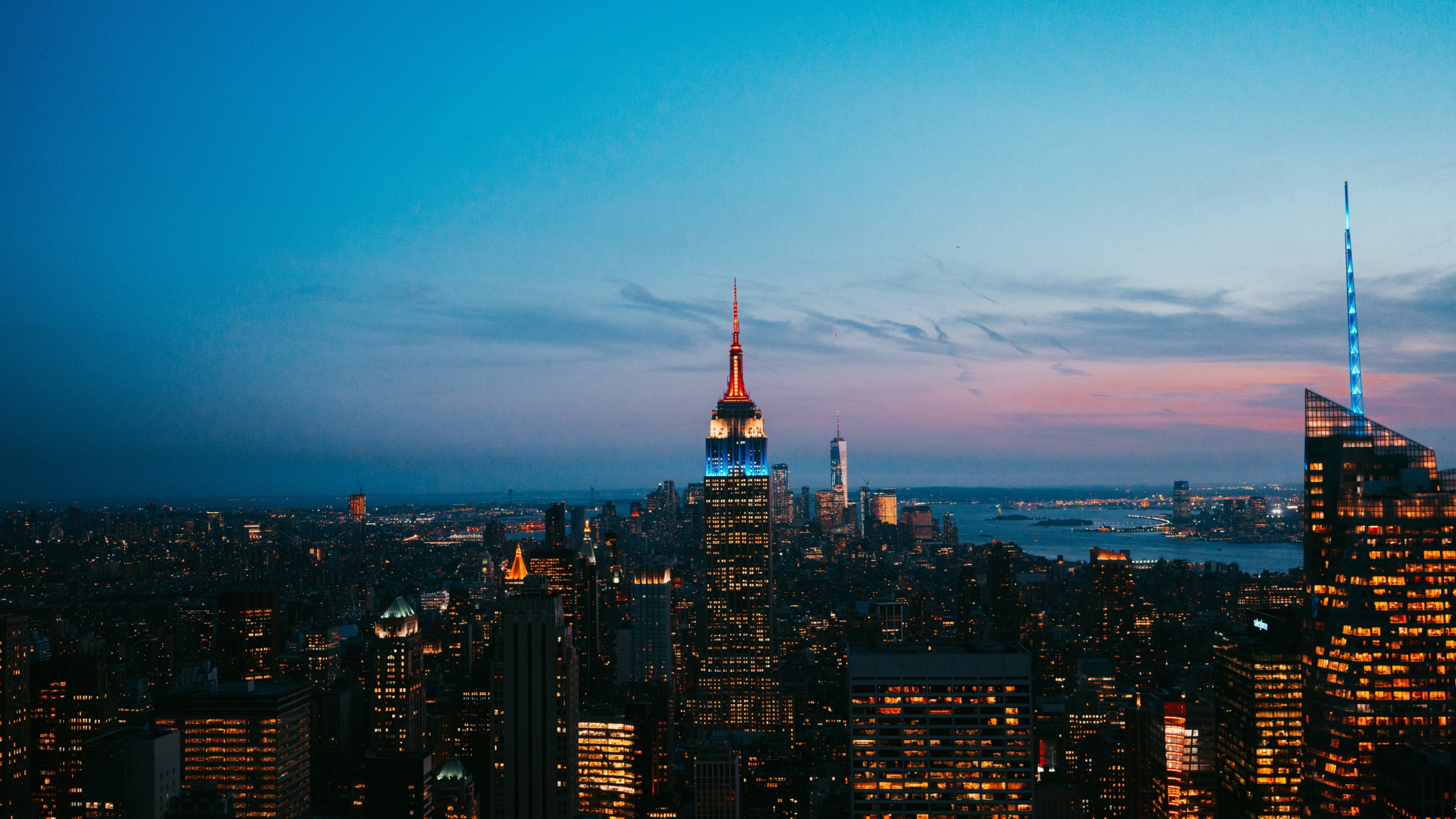 New york, skyscrapers, night, city, buildings, empire state building, 2560x1440 wallpaper
