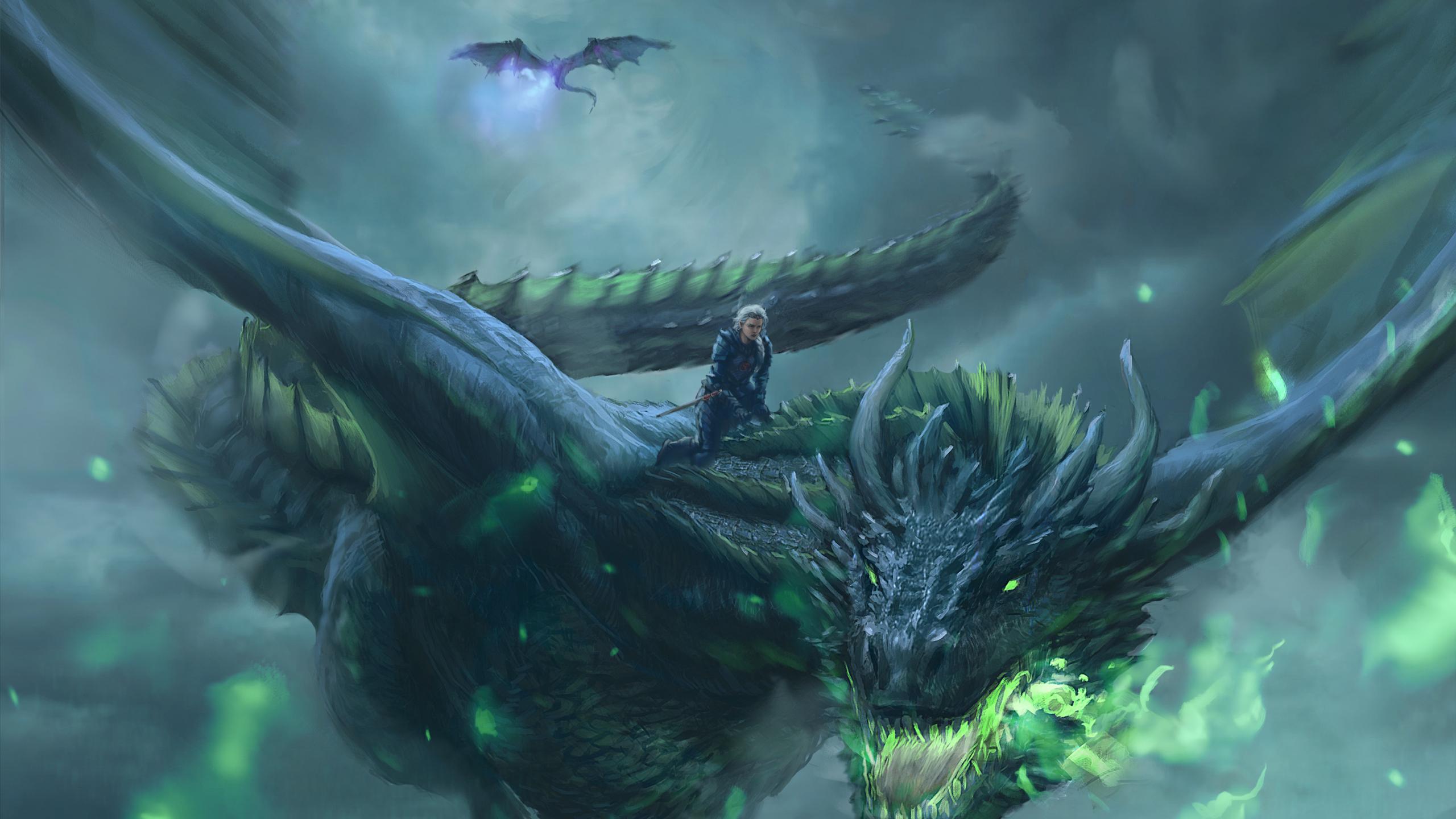 Daenerys Targaryen, Dragon ride, game of thrones, digital art, 2560x1440 wallpaper