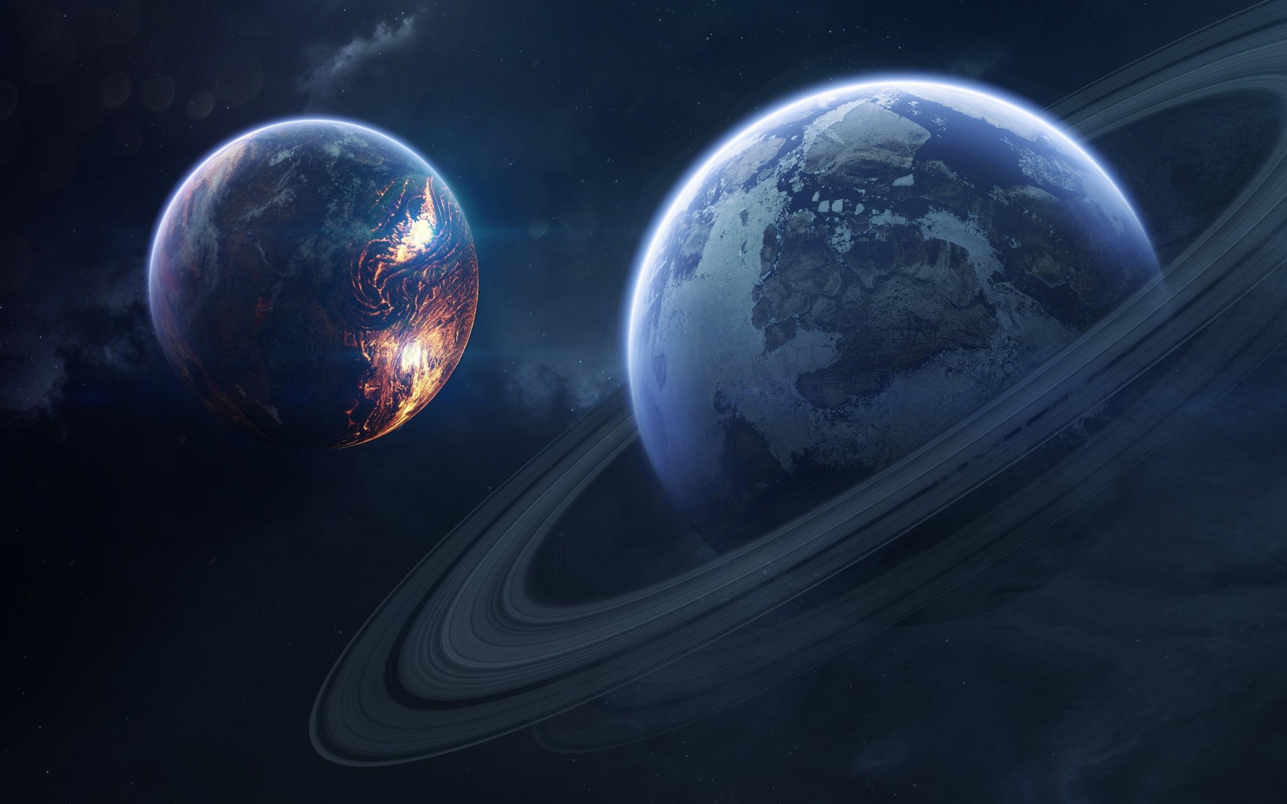 Saturn, space, planet of rings, 2560x1600 wallpaper