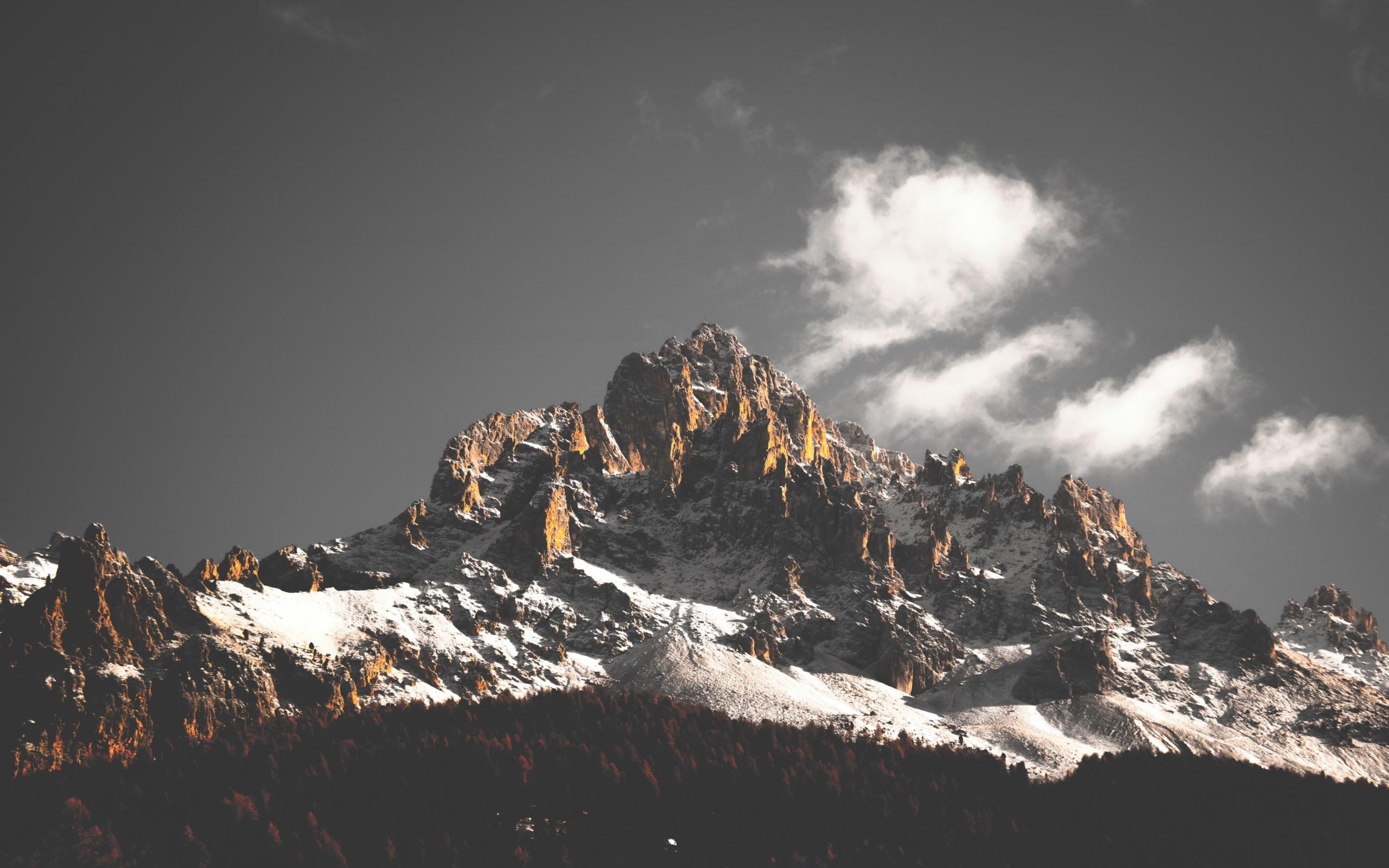 Mountain cliffs, nature, sky, clouds, tree, 2560x1600 wallpaper