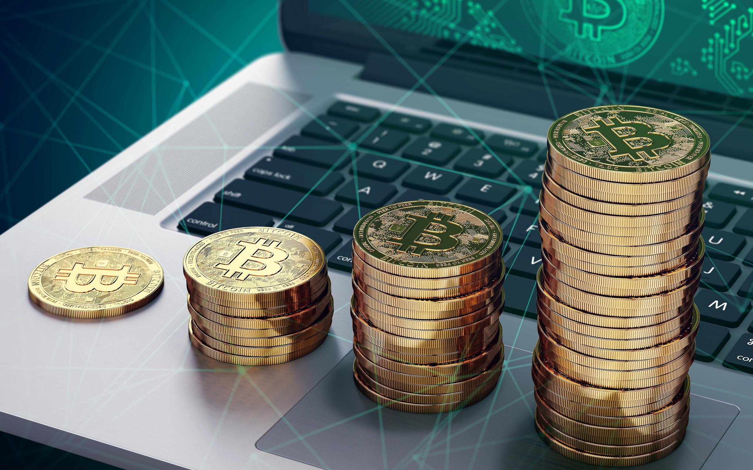 Crypto coins, Bitcoin, tech, 2560x1600 wallpaper