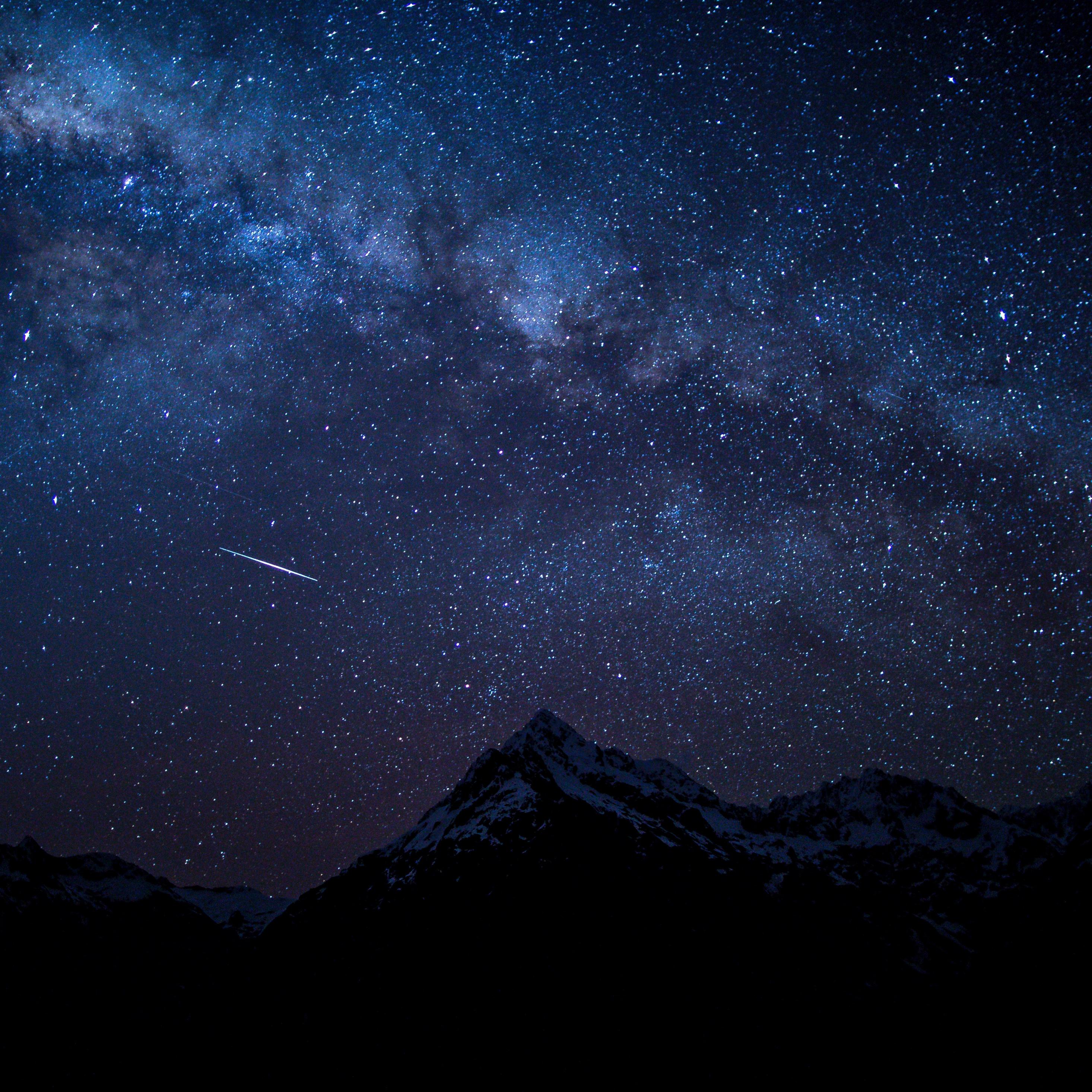 Starry sky night mountians 5k