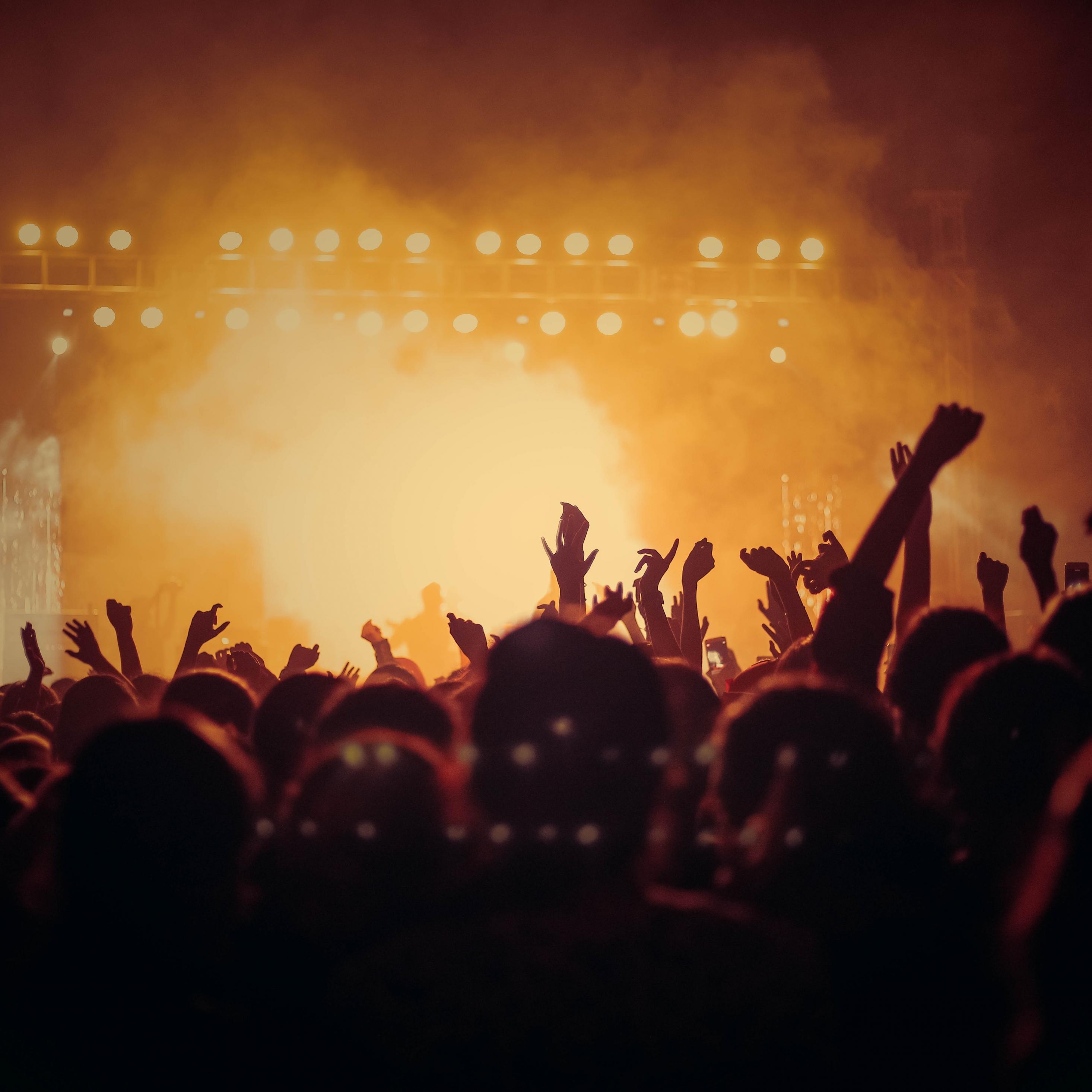 Concert, hands up, joy, dark, party, 2932x2932 wallpaper