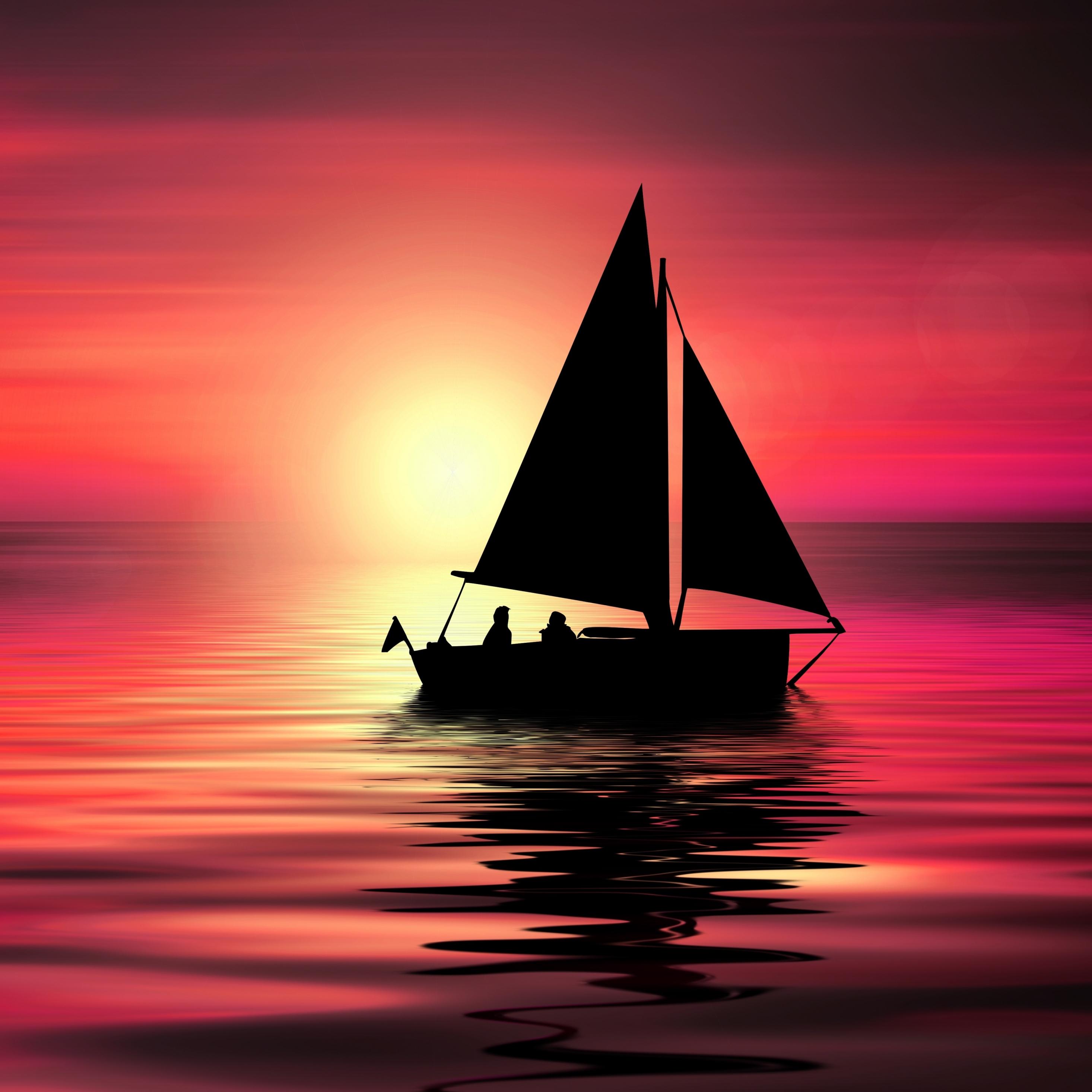 Artwork, sailboat, sunset, silhouette, 2932x2932 wallpaper