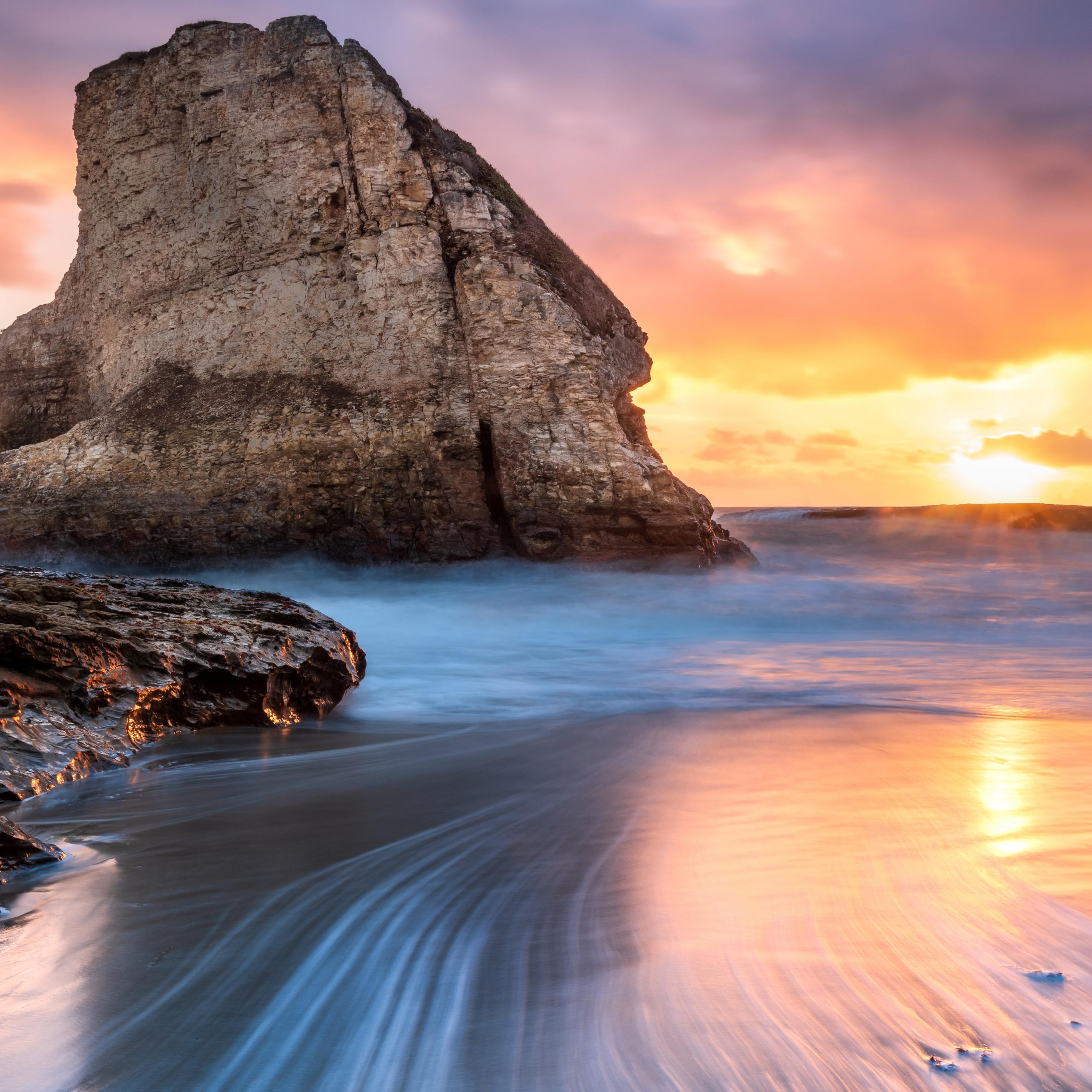 Download 2932x2932 Wallpaper Shark Tooth Beach Rocks Cliff