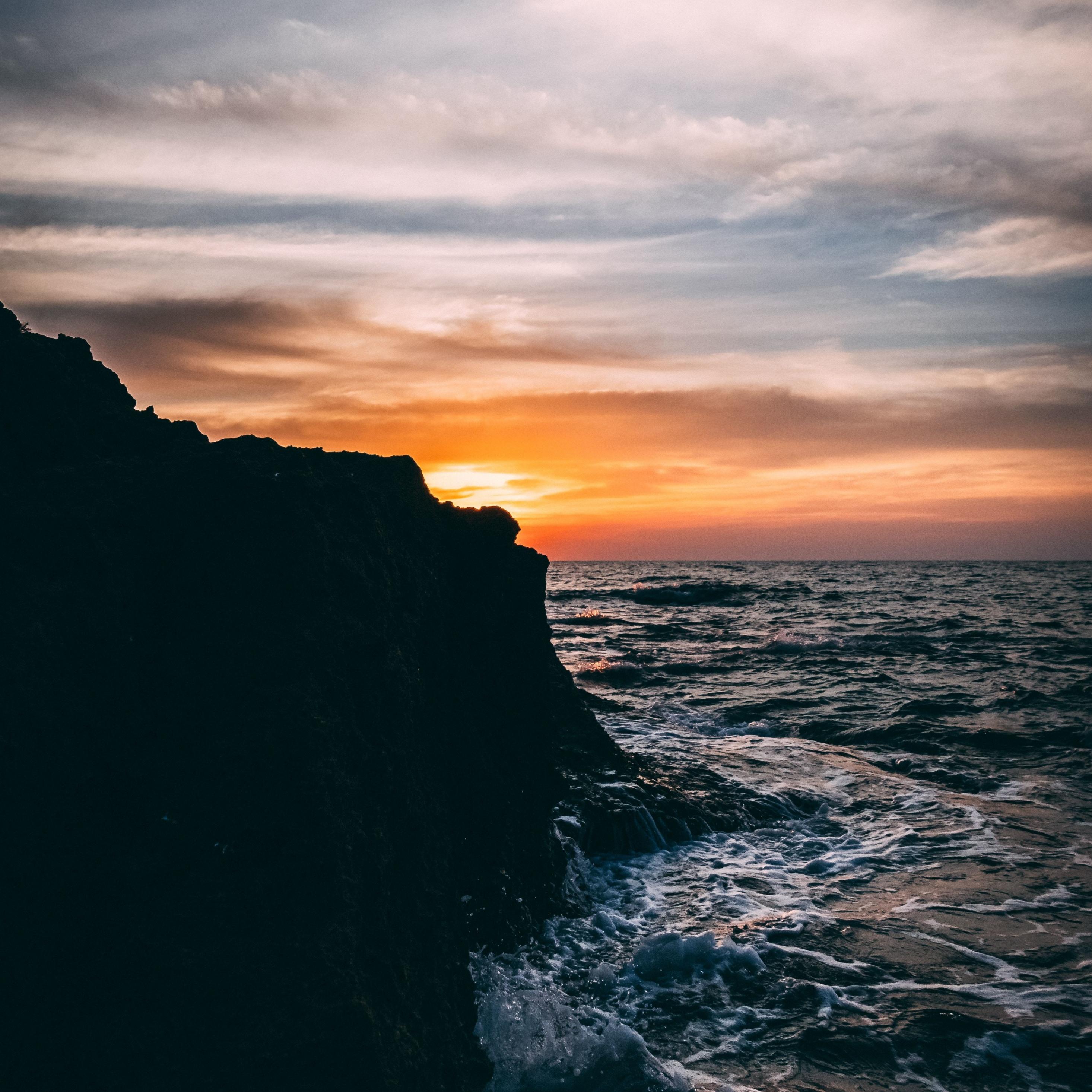 Download 2932x2932 Wallpaper Sunset Coast Rocks Sea Nature