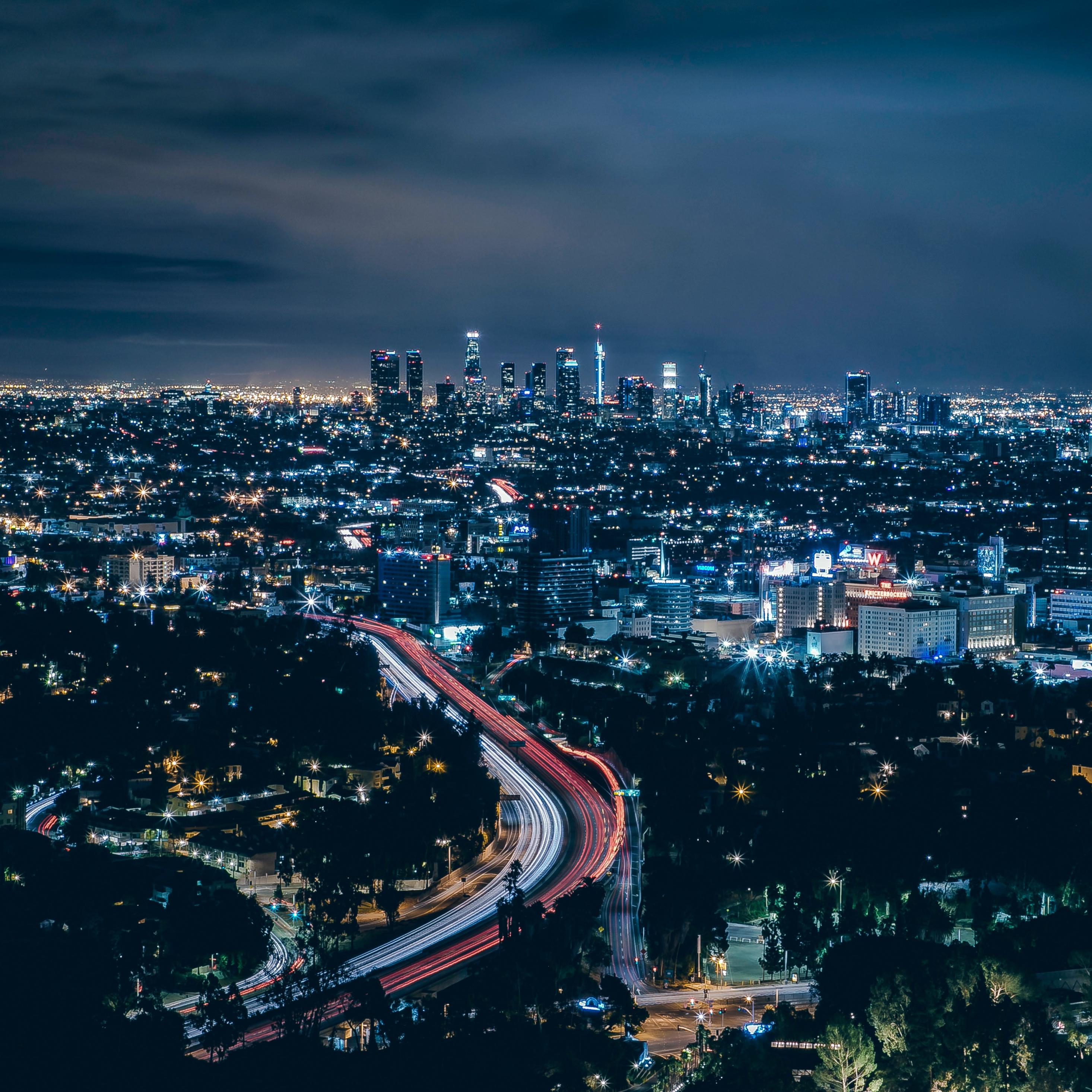 Los Angeles, city, skyscrapers, night, 2932x2932 wallpaper