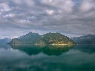 Alaska mountains lake clouds 4k