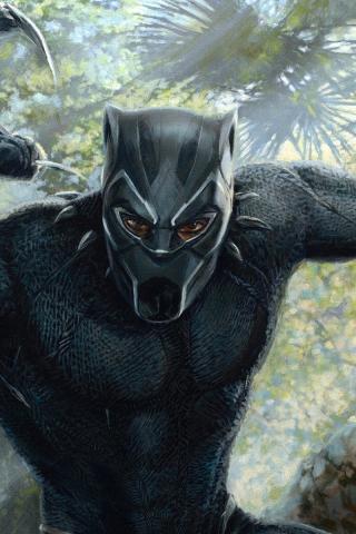 Download 240x320 Wallpaper Black Panther Superhero Artwork Old