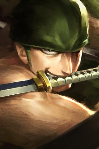Download 240x320 Wallpaper Artwork Warrior Roronoa Zoro