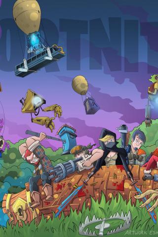 Download 240x320 Wallpaper Fortnite Video Game Landscape