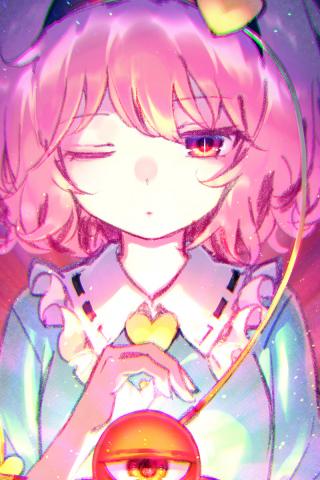 Cute Satori Komeiji Touhou Anime Girl 240x320 Wallpaper