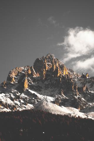 Mountain cliffs, nature, sky, clouds, tree, 240x320 wallpaper