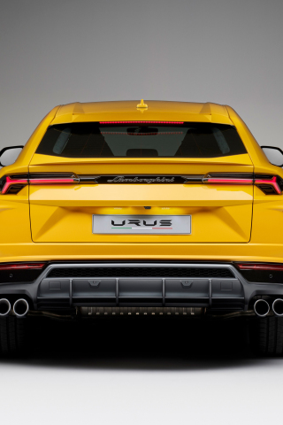 Download 240x320 Wallpaper Lamborghini Urus Yellow Car Rear View