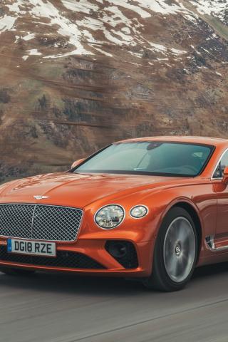 Orange, Bentley Continental GT, 320x480 wallpaper