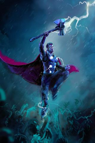 Thor, thunder storm, artwork, 240x320 wallpaper